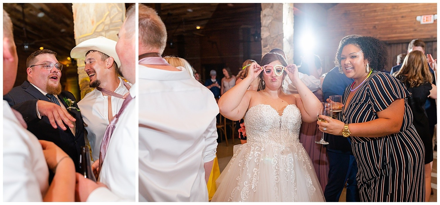 fun wedding reception at Magnolia Bells wedding venue photographed by Swish and Click Photography