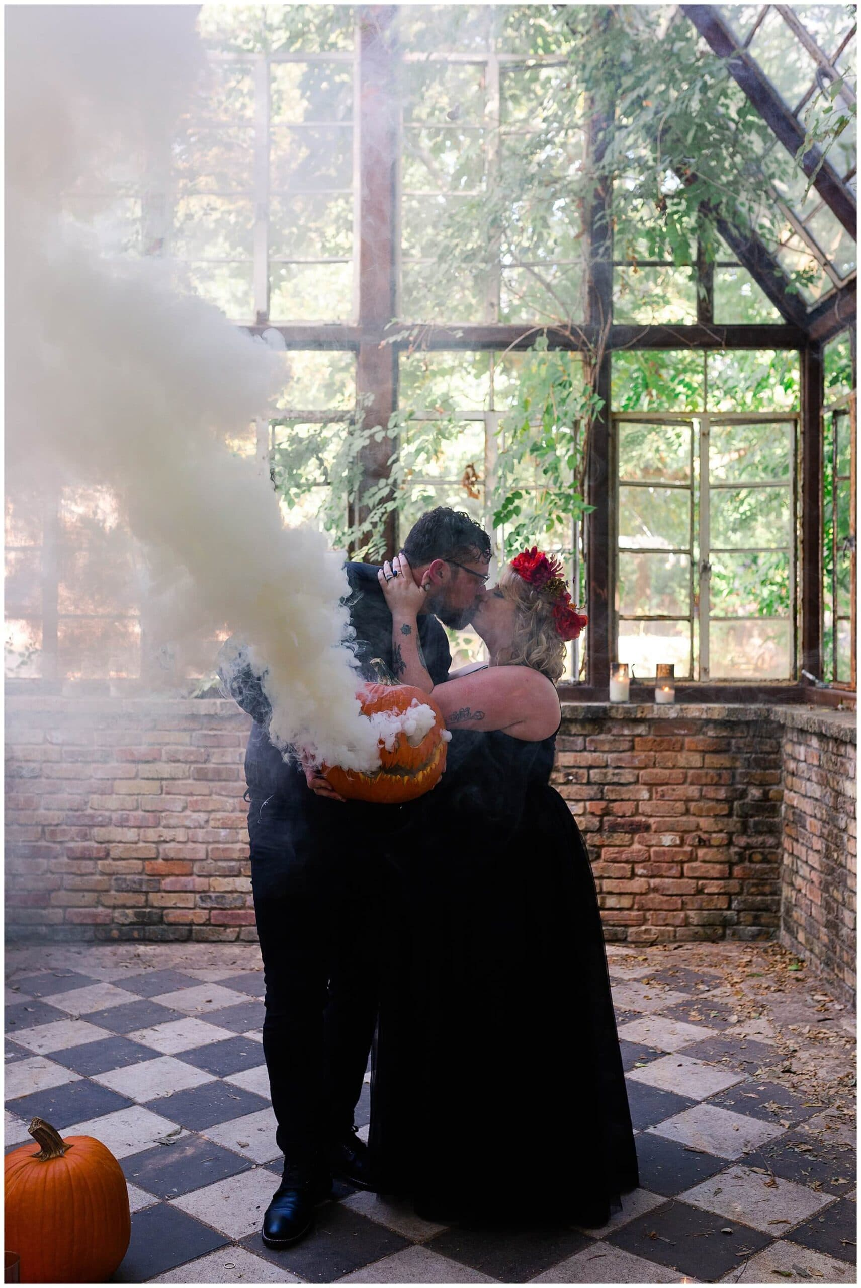 Halloween pumpkin engagements at Sekrit Theater photographed by Swish and Click Photography