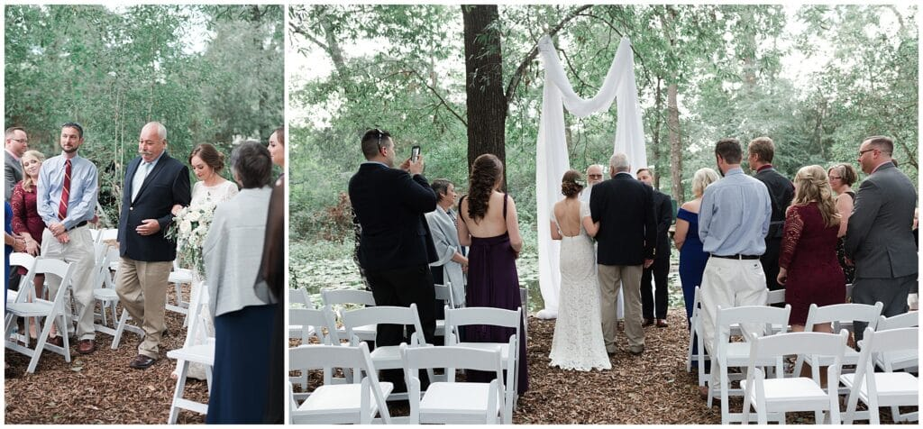 bride walking down the aisle at a micro wedding at Houston Arboretum in Houston Texas by Swish and Click Photography
