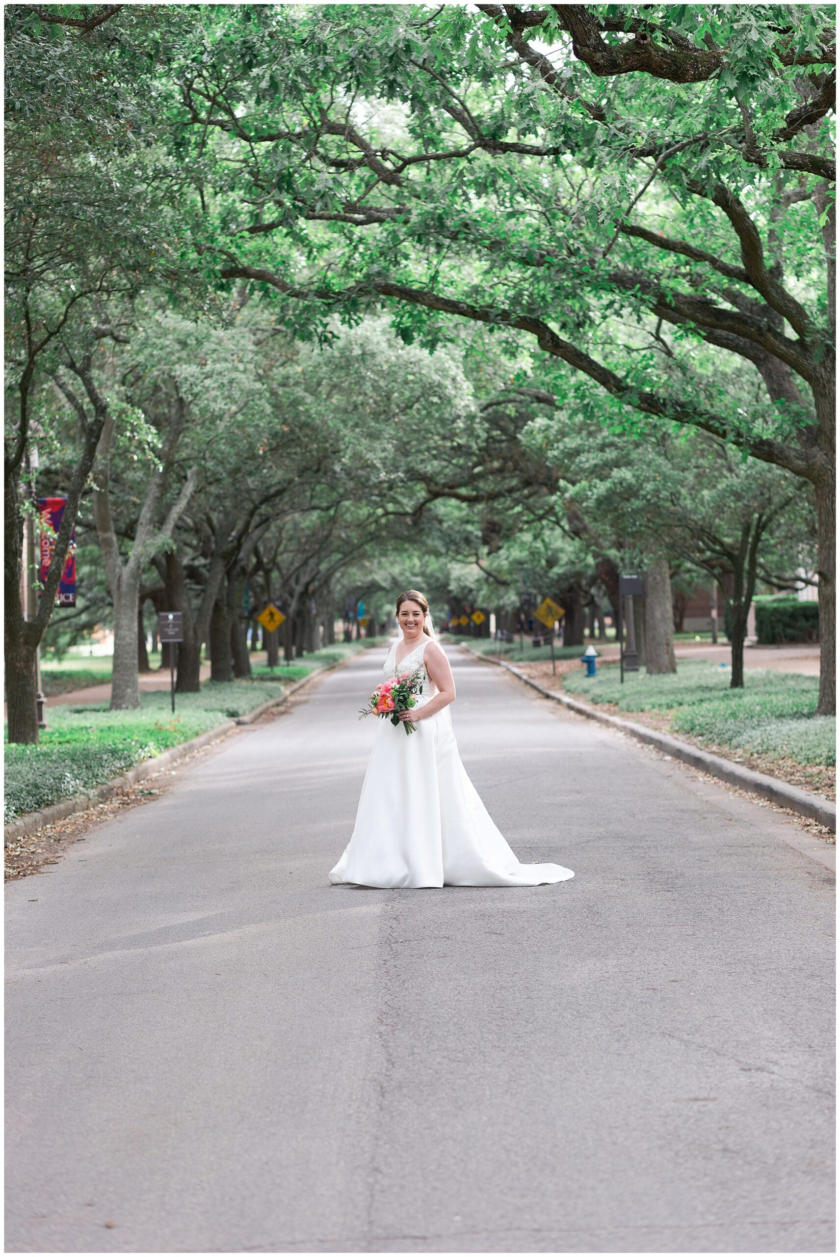 Houston bride poses at Rice University in Houston Texas by Swish and Click Photography