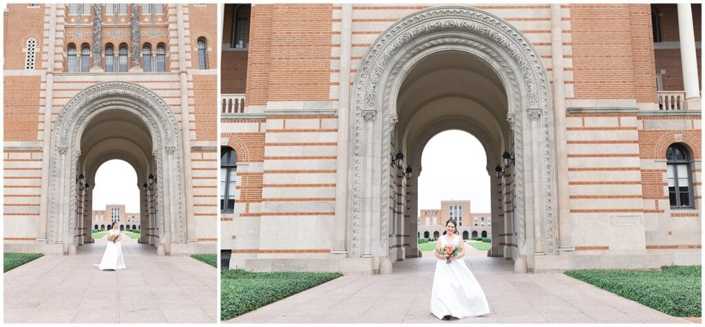 Houston bride poses outside Lovett Hall at Rice University in Houston Texas by Swish and Click Photography