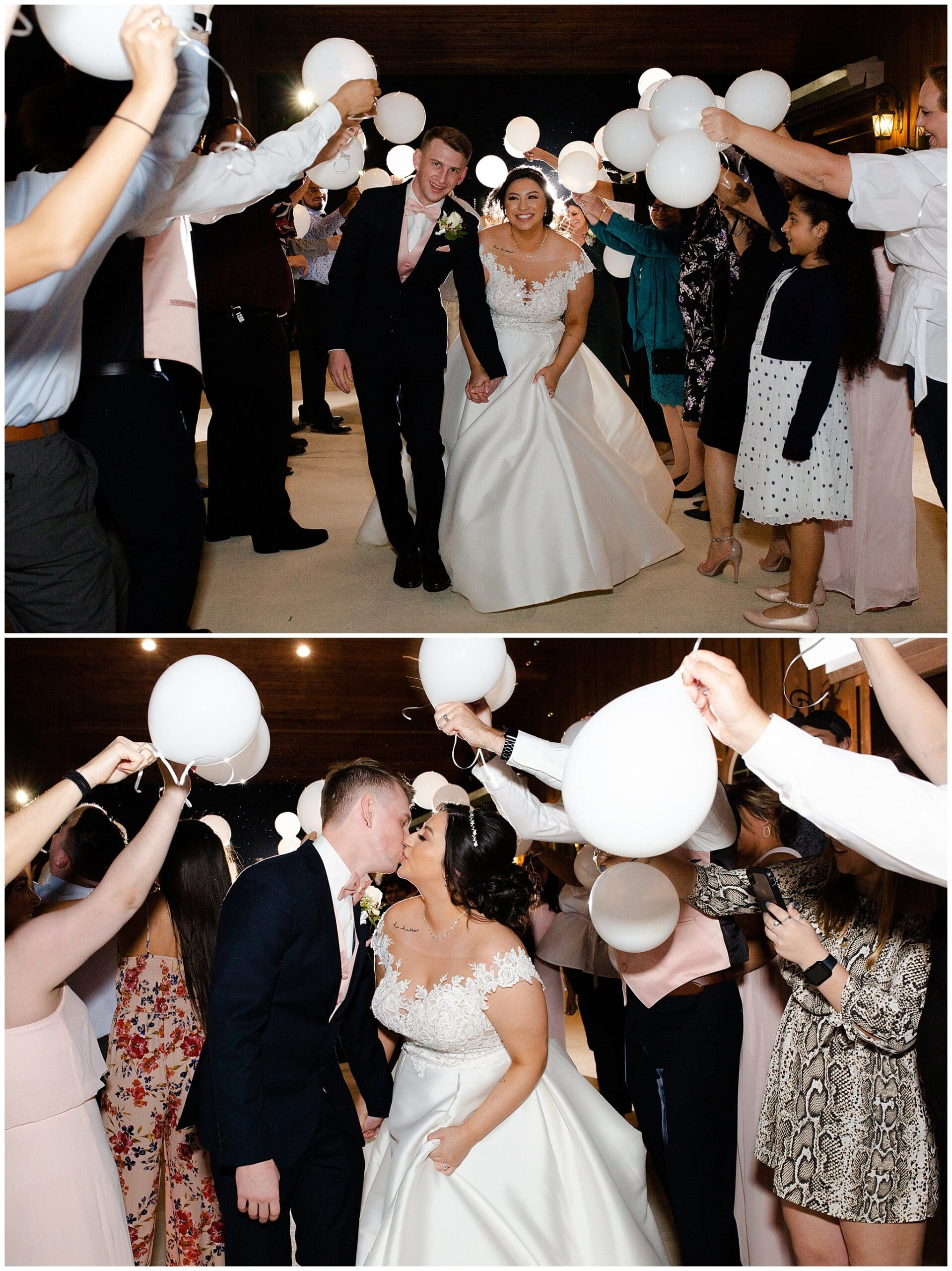 bride and groom grand exit at Bridal Oaks in Cypress Texas by Houston wedding photographer Swish and Click Photography