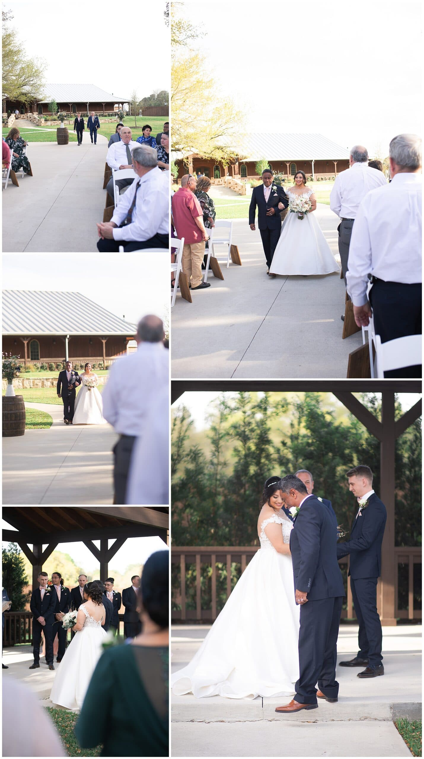 bride and groom walking down the aisle at Bridal Oaks in Cypress Texas by Houston wedding photographer Swish and Click Photography