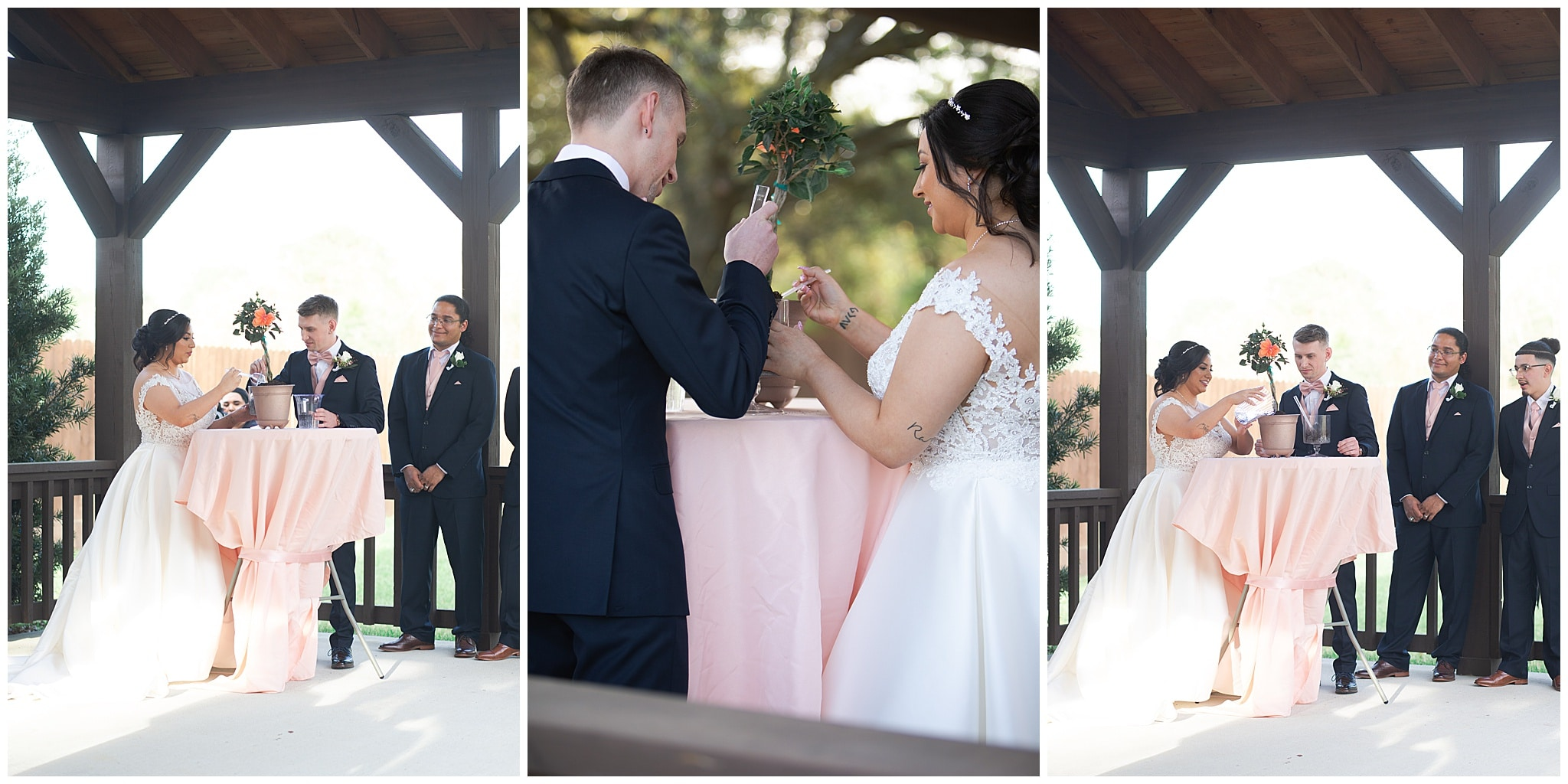 bride and groom plant tree at Bridal Oaks in Cypress Texas by Houston wedding photographer Swish and Click Photography