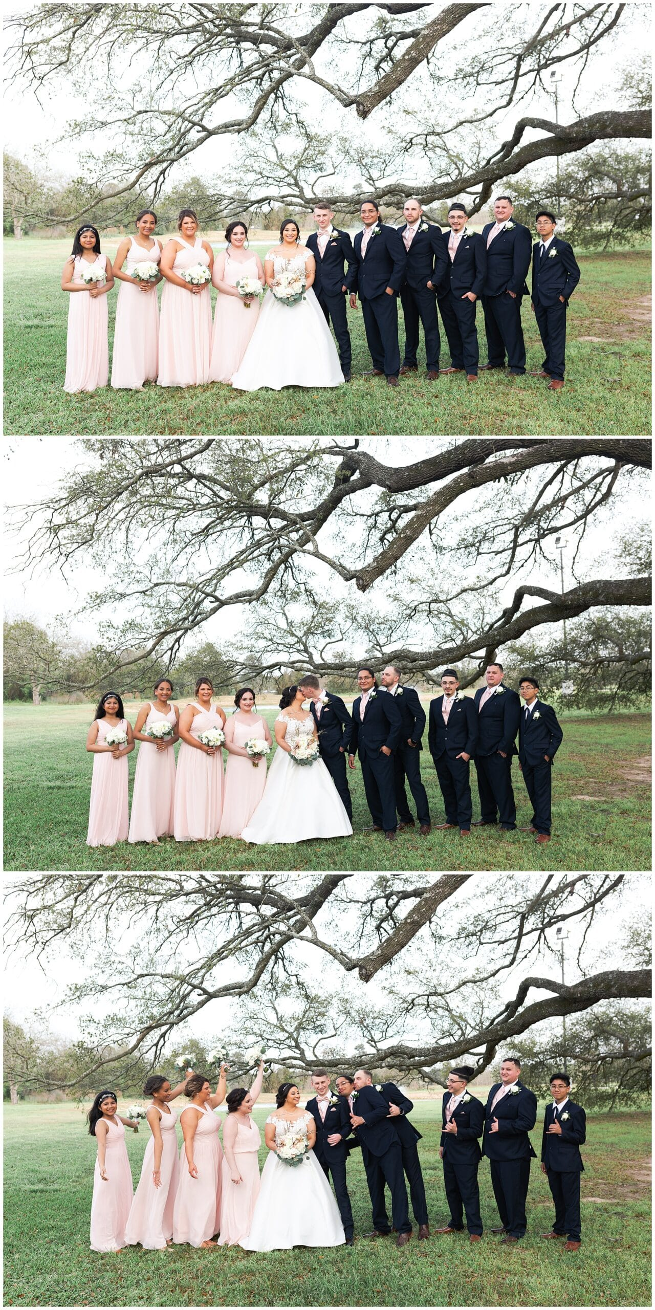 wedding party portraits at Bridal Oaks in Cypress Texas by Houston wedding photographer Swish and Click Photography