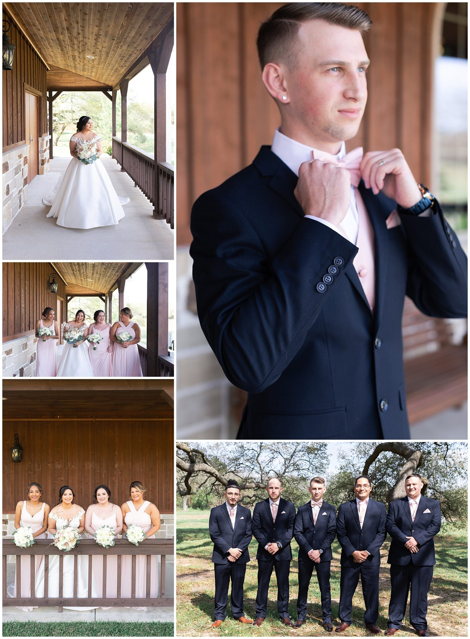 groom party and bridal party at Bridal Oaks in Cypress Texas by Houston wedding photographer Swish and Click Photography
