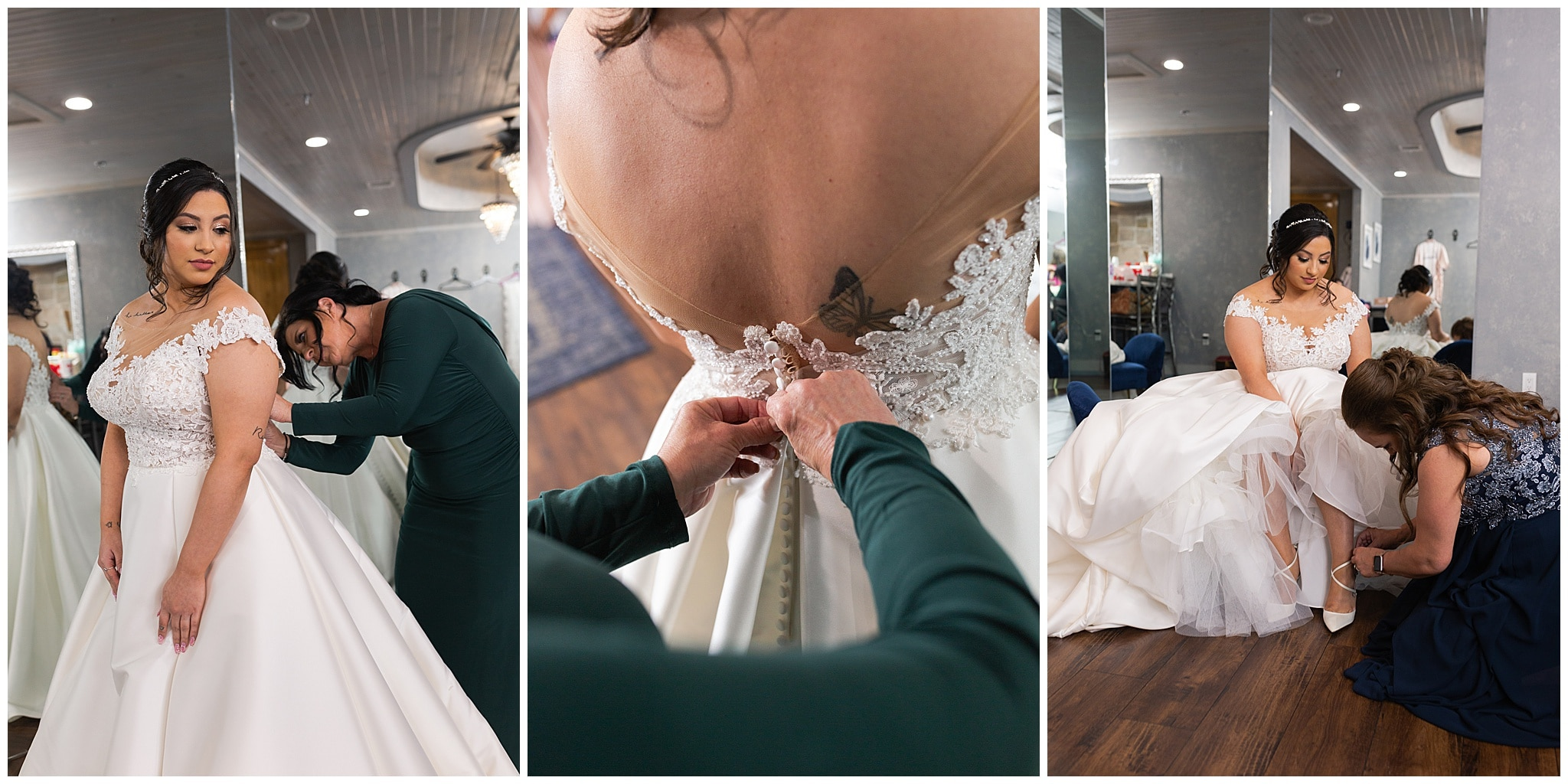 bride getting in her gown at Bridal Oaks in Cypress Texas by Houston wedding photographer Swish and Click Photography