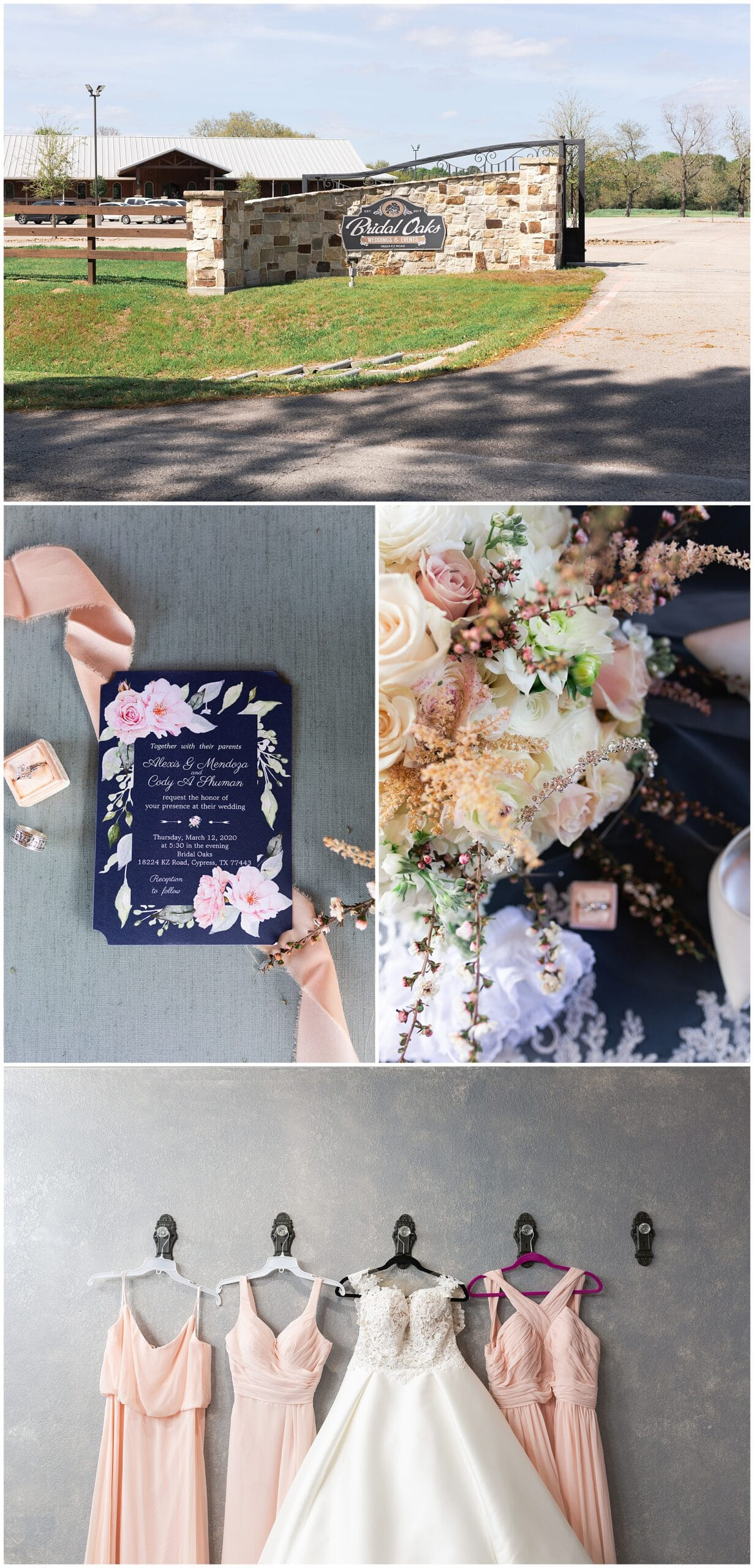 wedding gown and wedding invitation at Bridal Oaks in Cypress Texas by Houston wedding photographer Swish and Click Photography