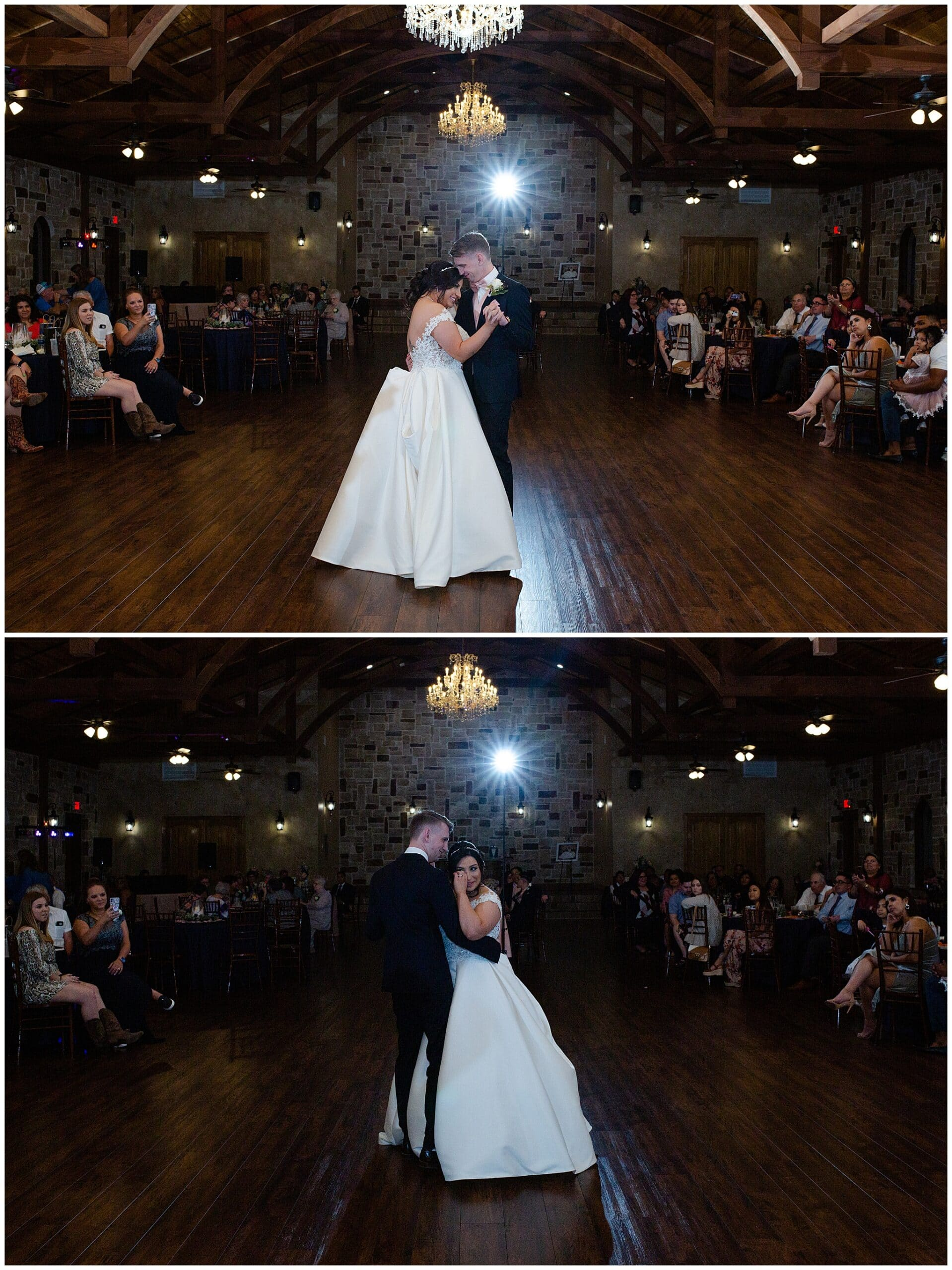 bride and groom first dance at Bridal Oaks in Cypress Texas by Houston wedding photographer Swish and Click Photography