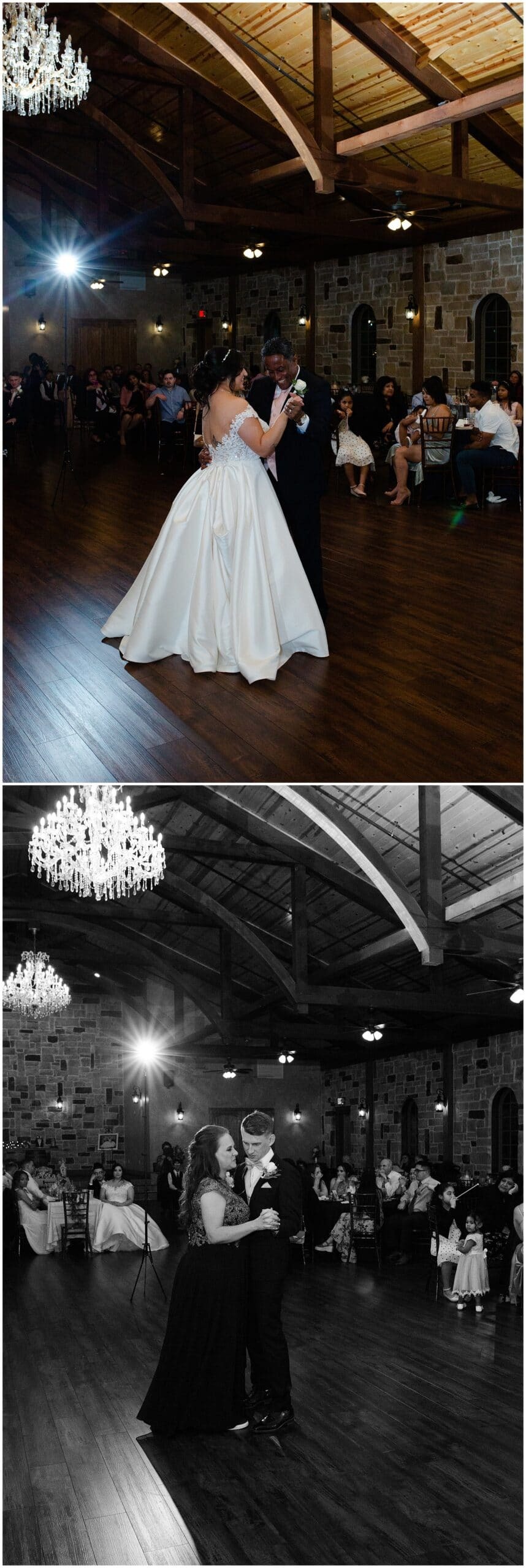 parent first dances at Bridal Oaks in Cypress Texas by Houston wedding photographer Swish and Click Photography