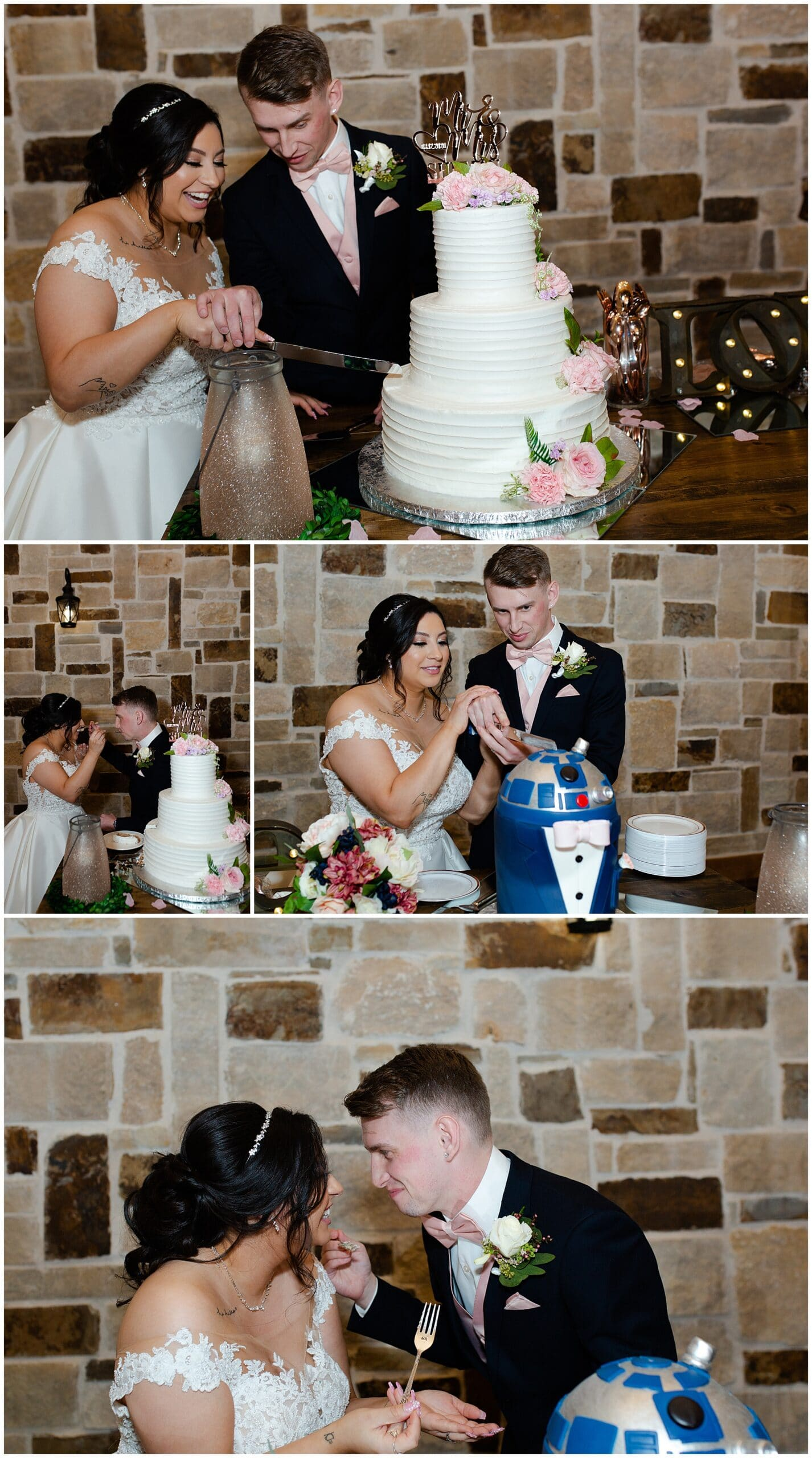 cake cutting at Bridal Oaks in Cypress Texas by Houston wedding photographer Swish and Click Photography