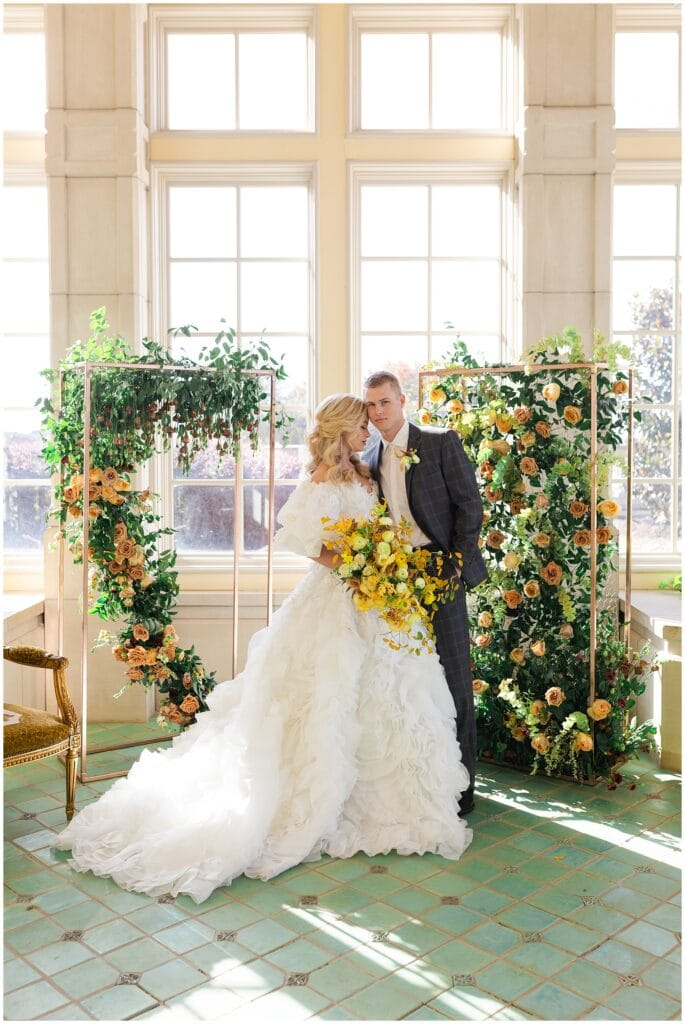 bridal portraits on wedding day at The Olana in Hickory Creek, Texas in a yellow themed wedding captured by Swish and Click Photography