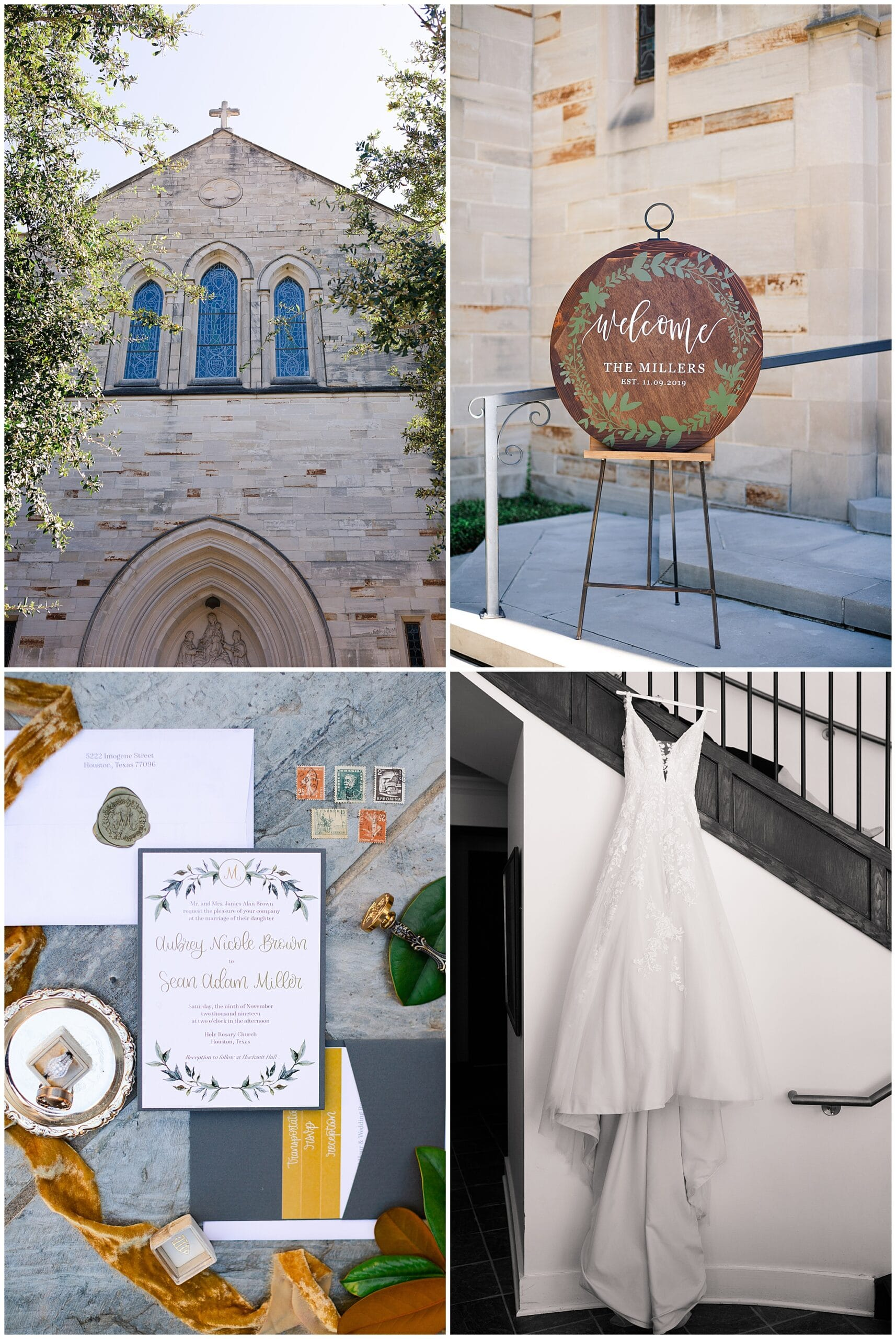wedding gown, wedding invitation at Holy Rosary Catholic Church captured by Swish and Click Photography
