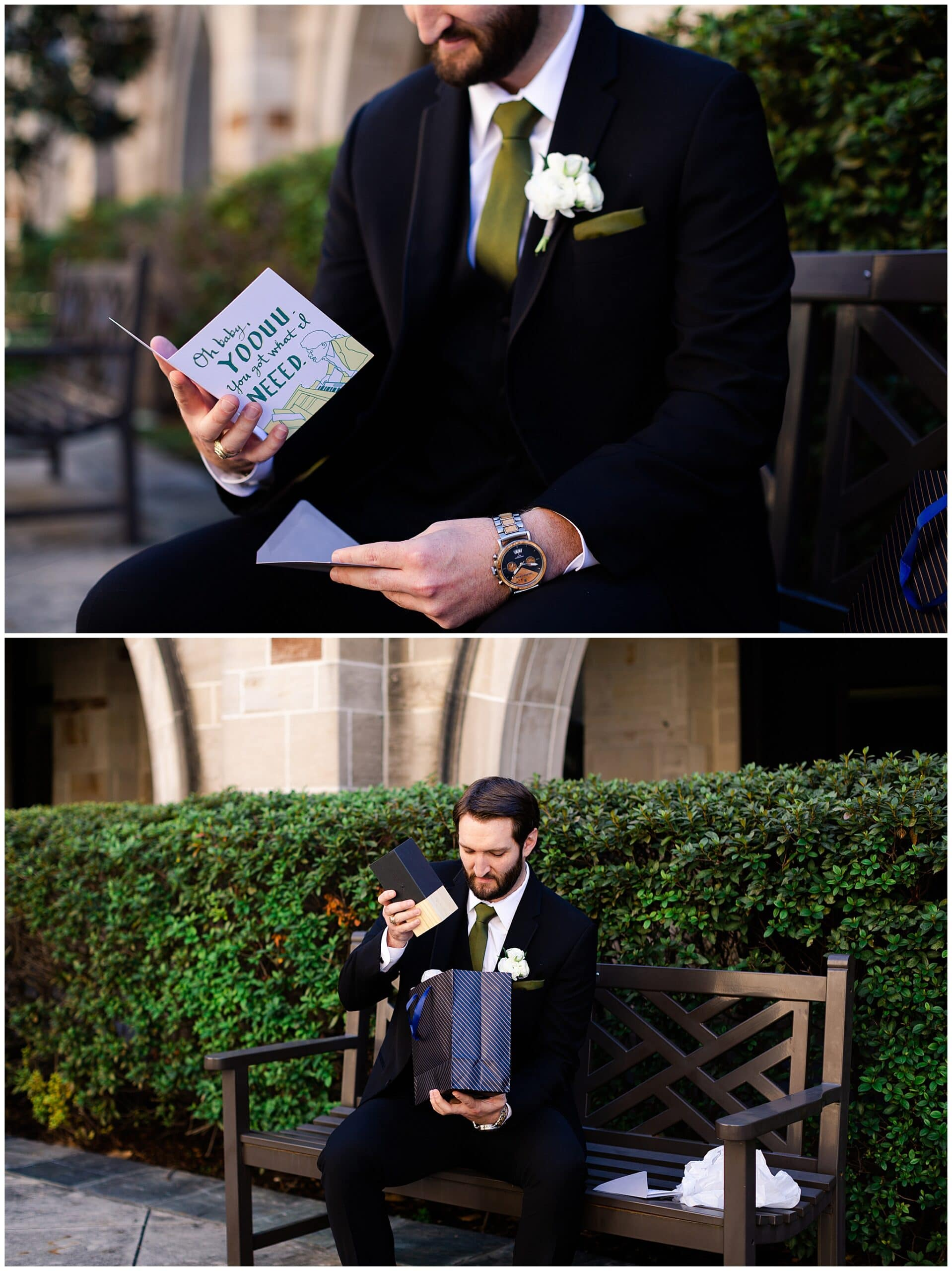 groom getting gift from bride at Holy Rosary Catholic Church captured by Swish and Click Photography