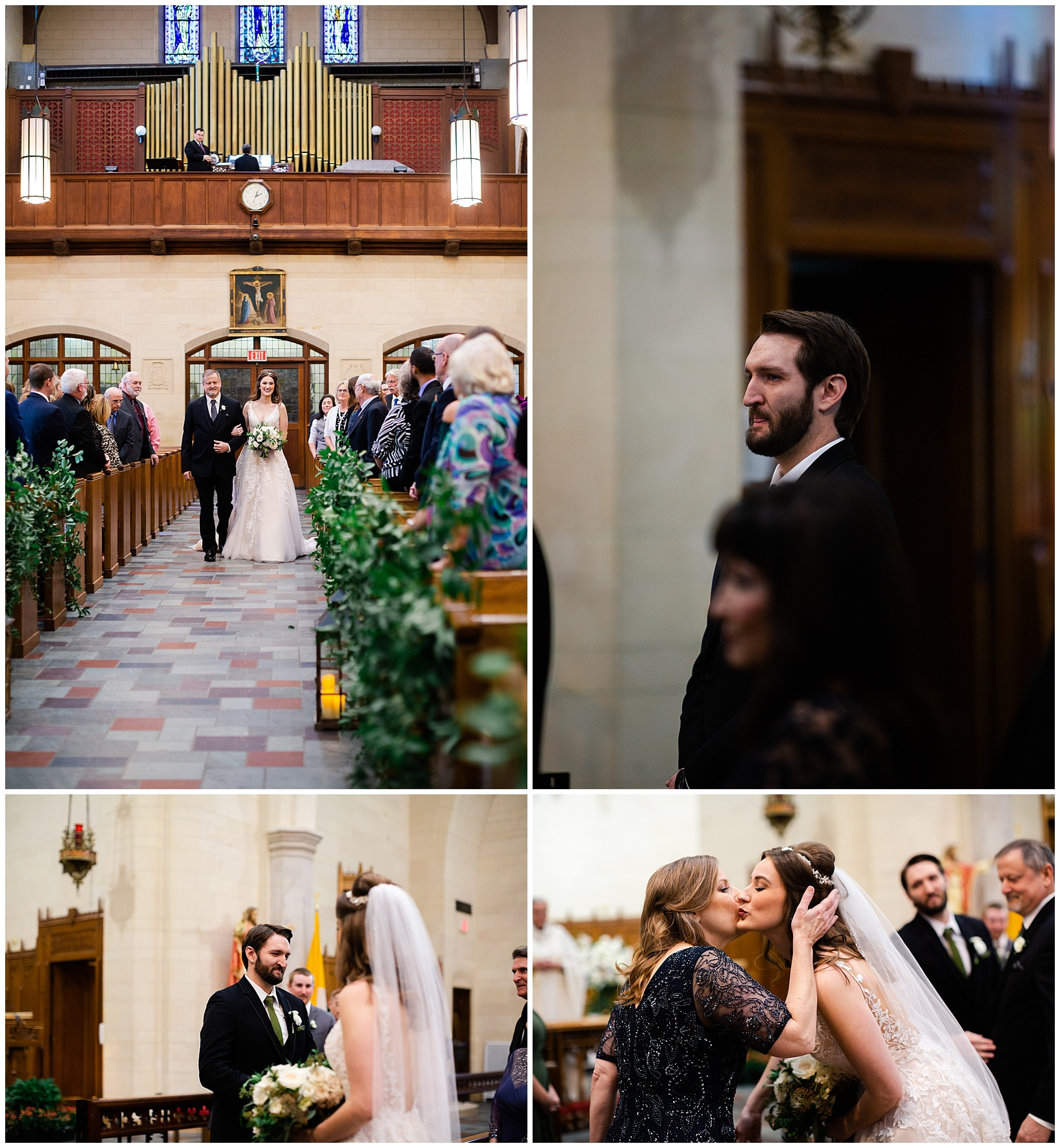 walking down aisle at Holy Rosary Catholic Church captured by Swish and Click Photography