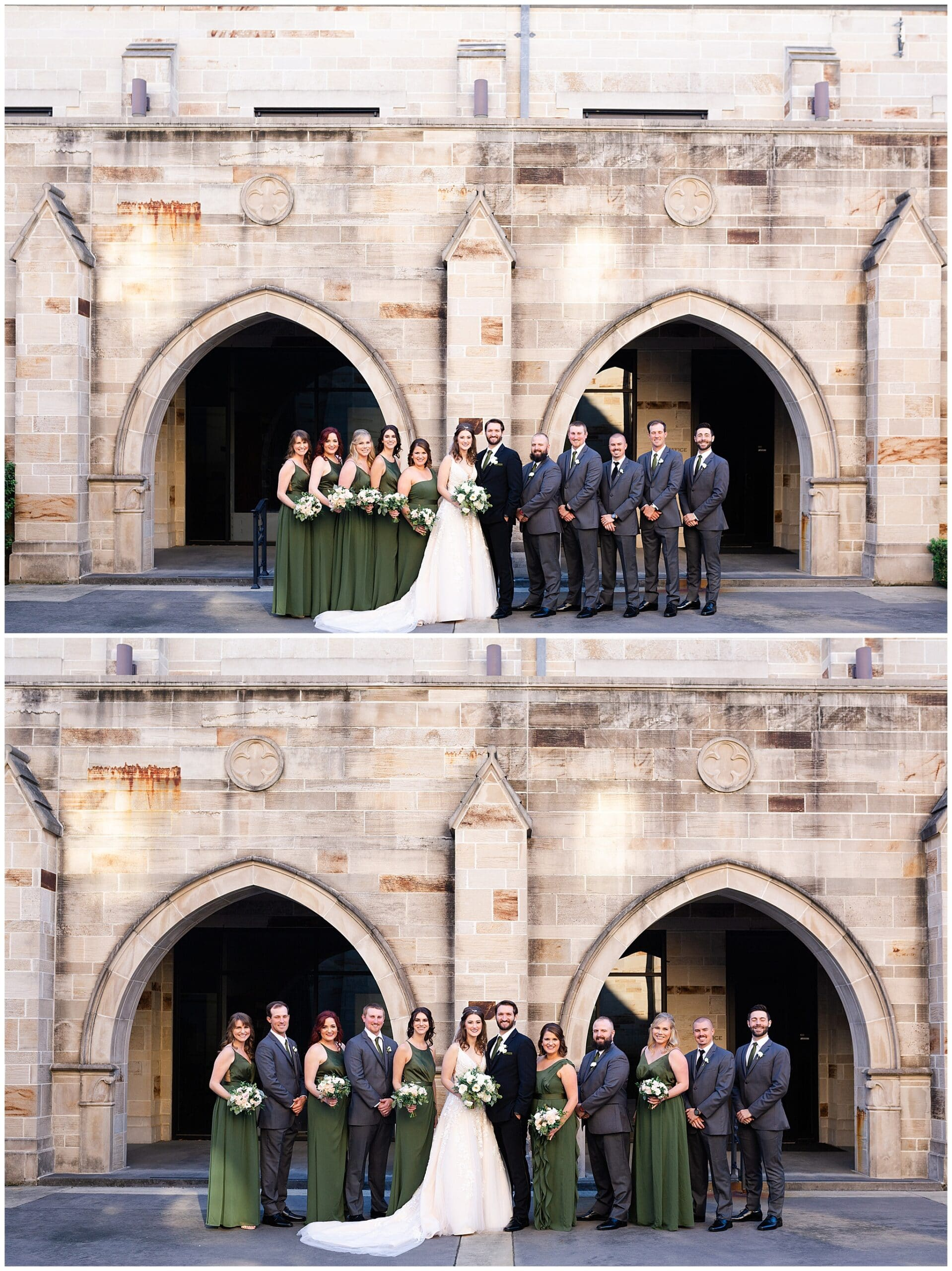 wedding party portraits at Holy Rosary Catholic Church captured by Swish and Click Photography