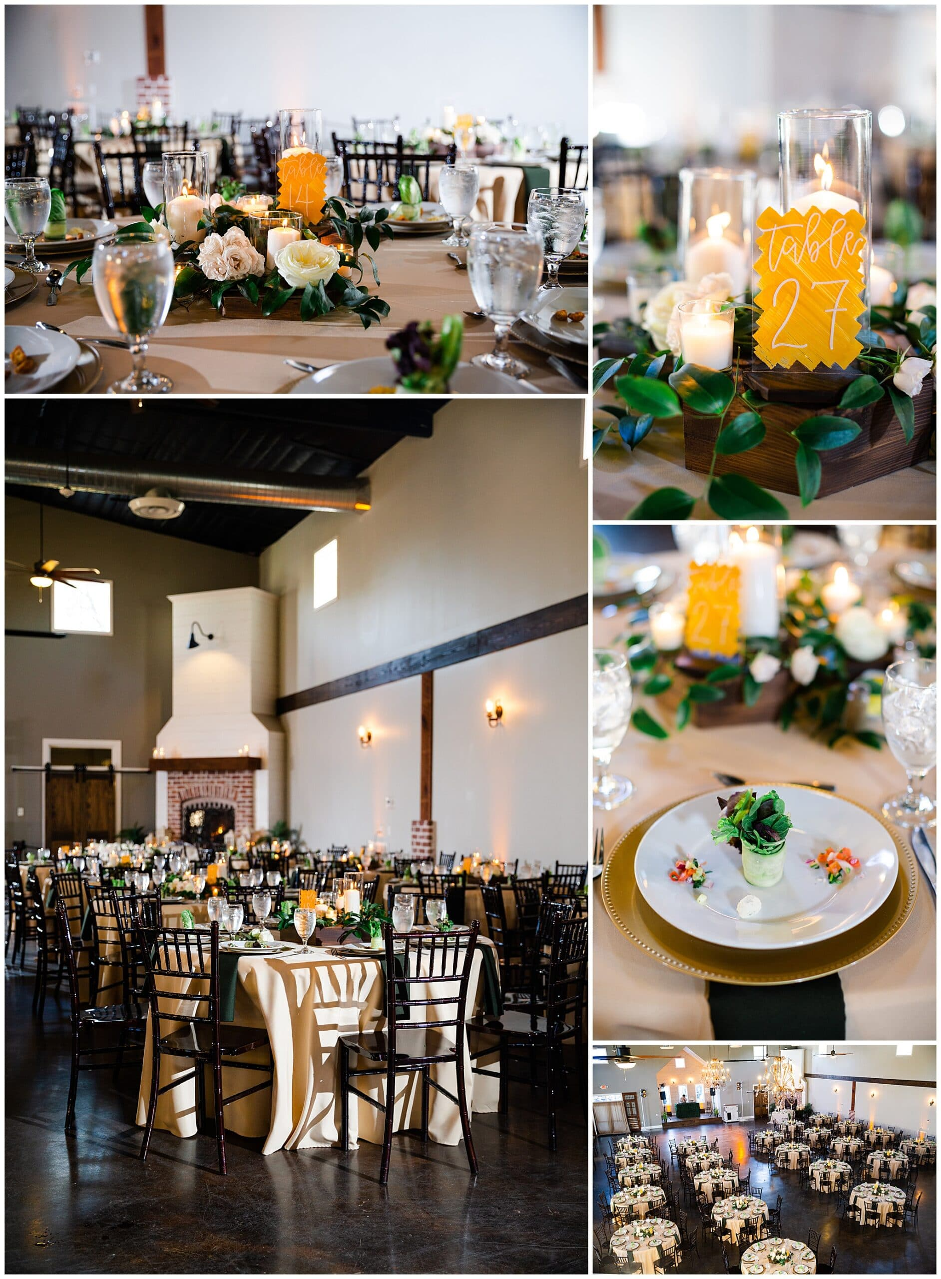 reception tables and table settings at Hochzeit Hall captured by Swish and Click Photography