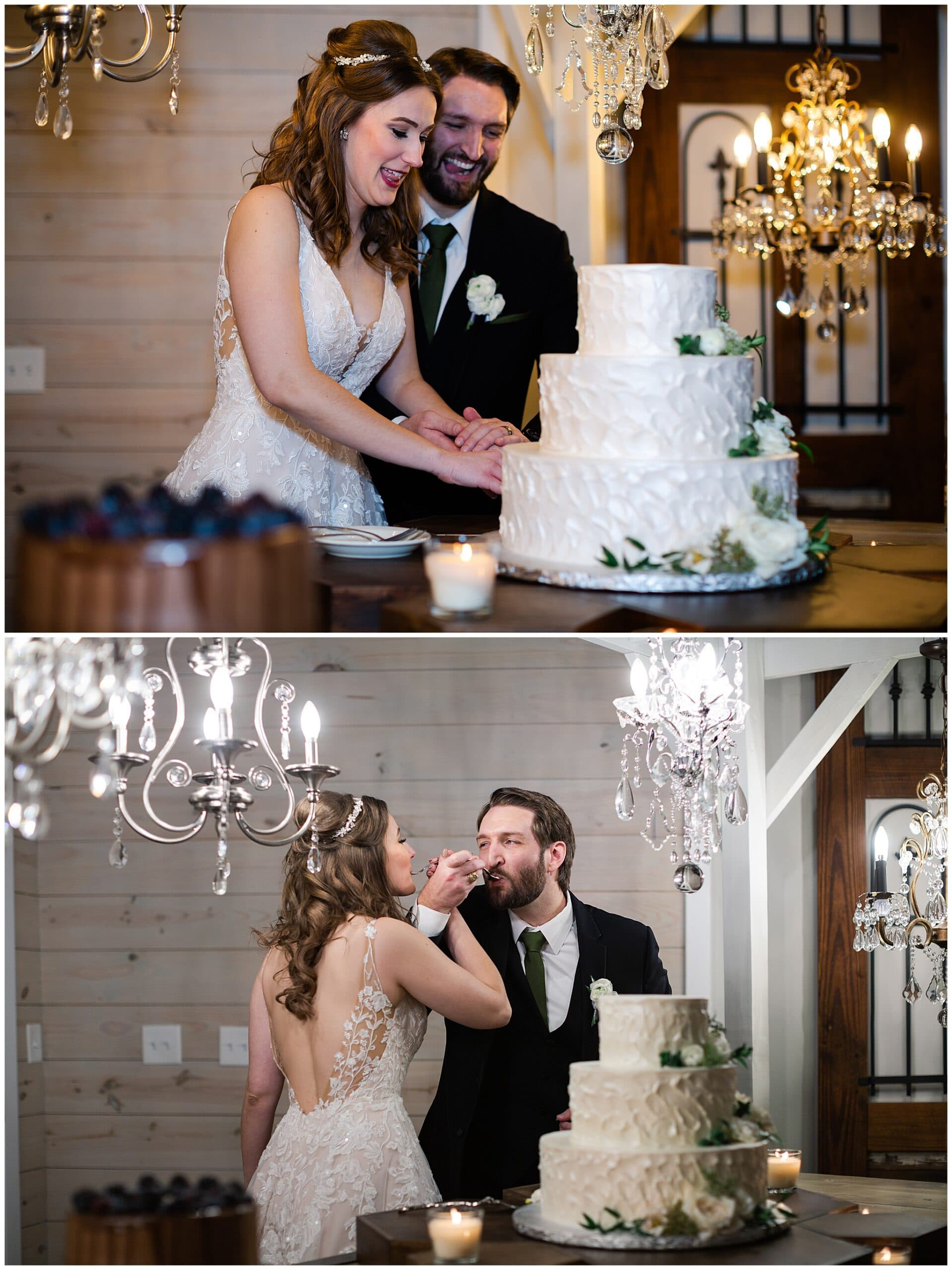 bride and groom cake cutting at Hochzeit Hall captured by Swish and Click Photography