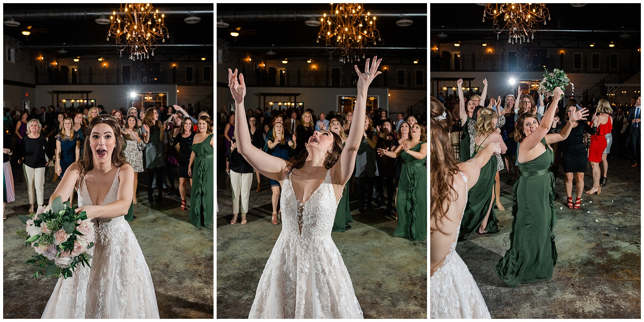 flower toss with bride at Hochzeit Hall captured by Swish and Click Photography
