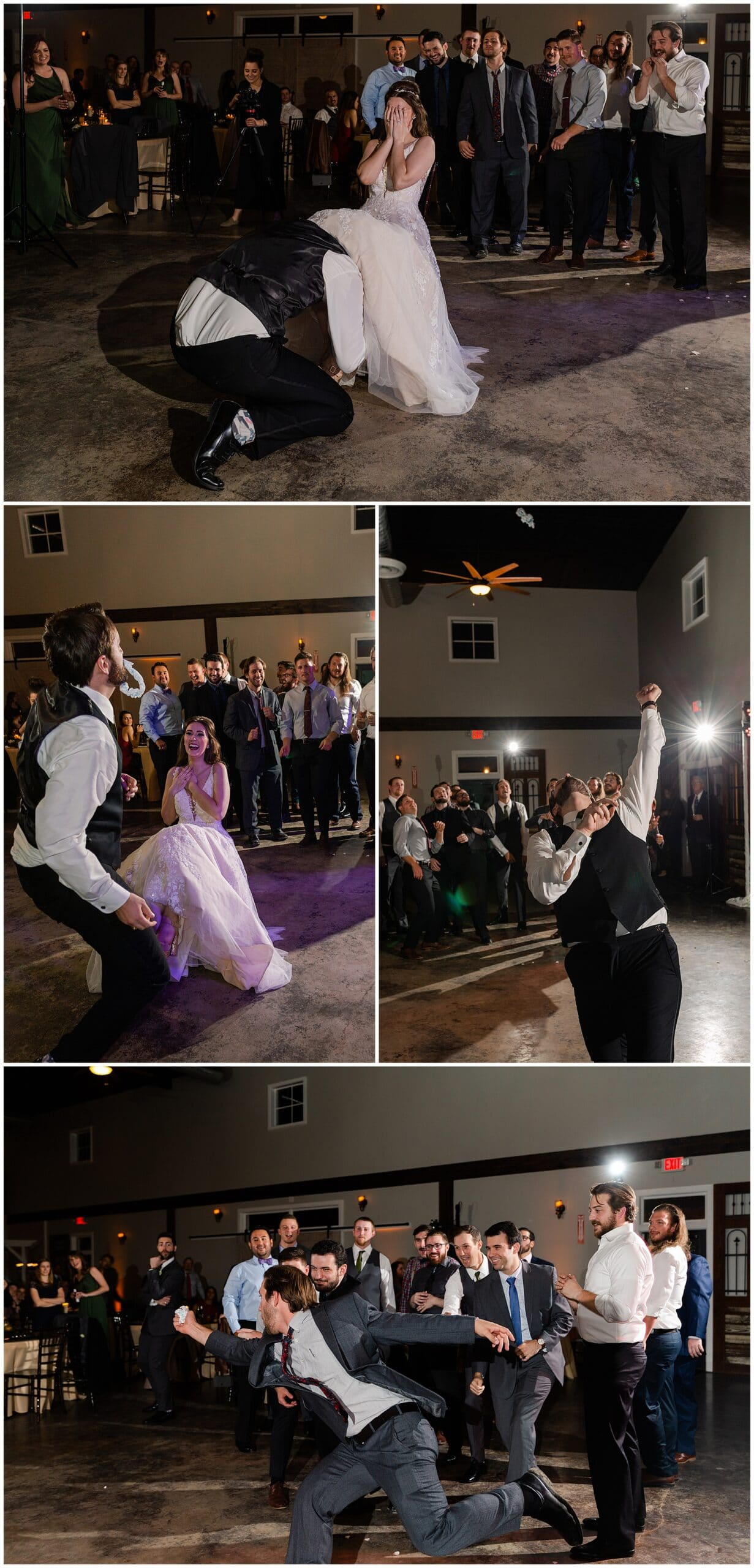 garter toss with groom at Hochzeit Hall captured by Swish and Click Photography