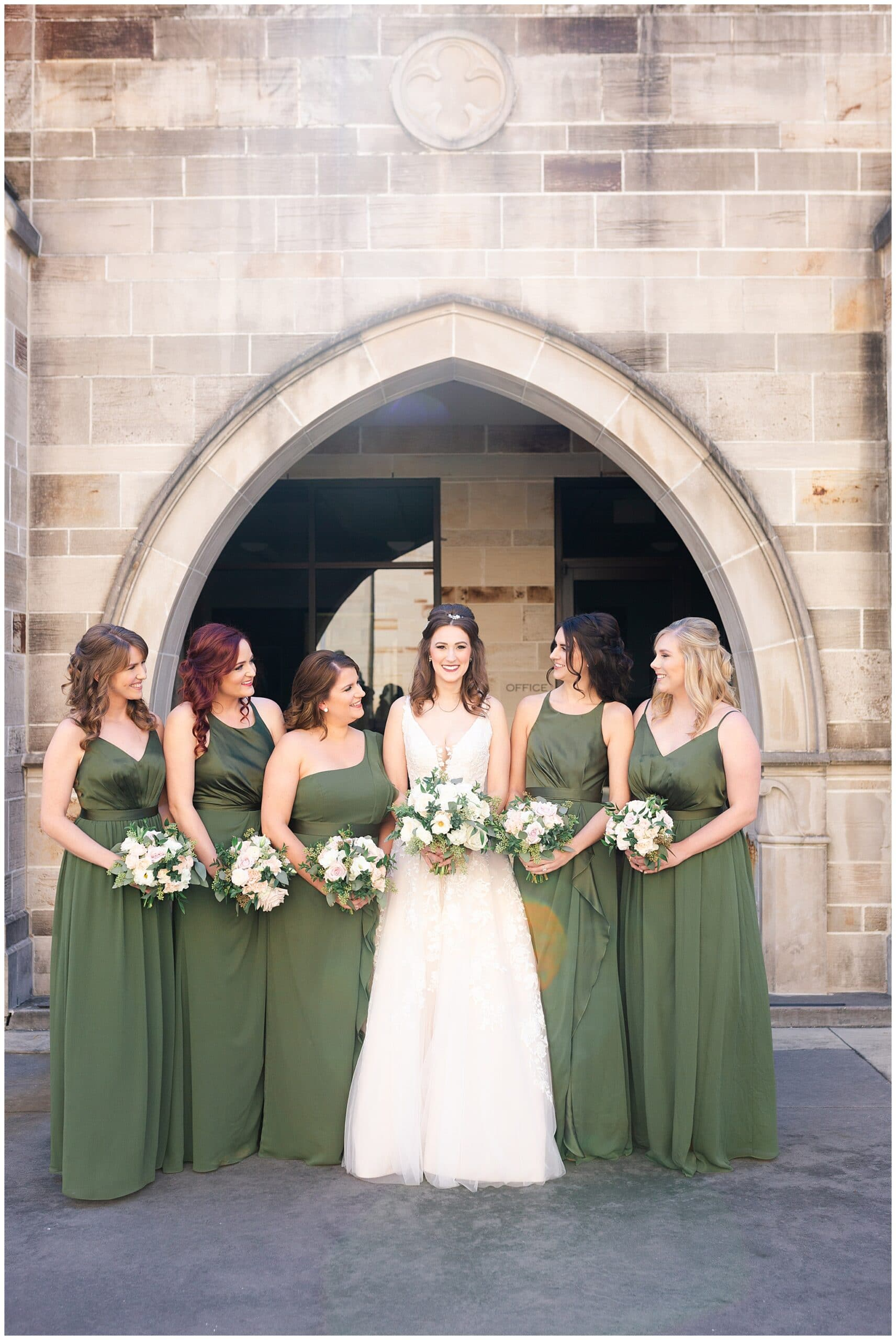 bridal party at Holy Rosary Catholic Church captured by Swish and Click Photography