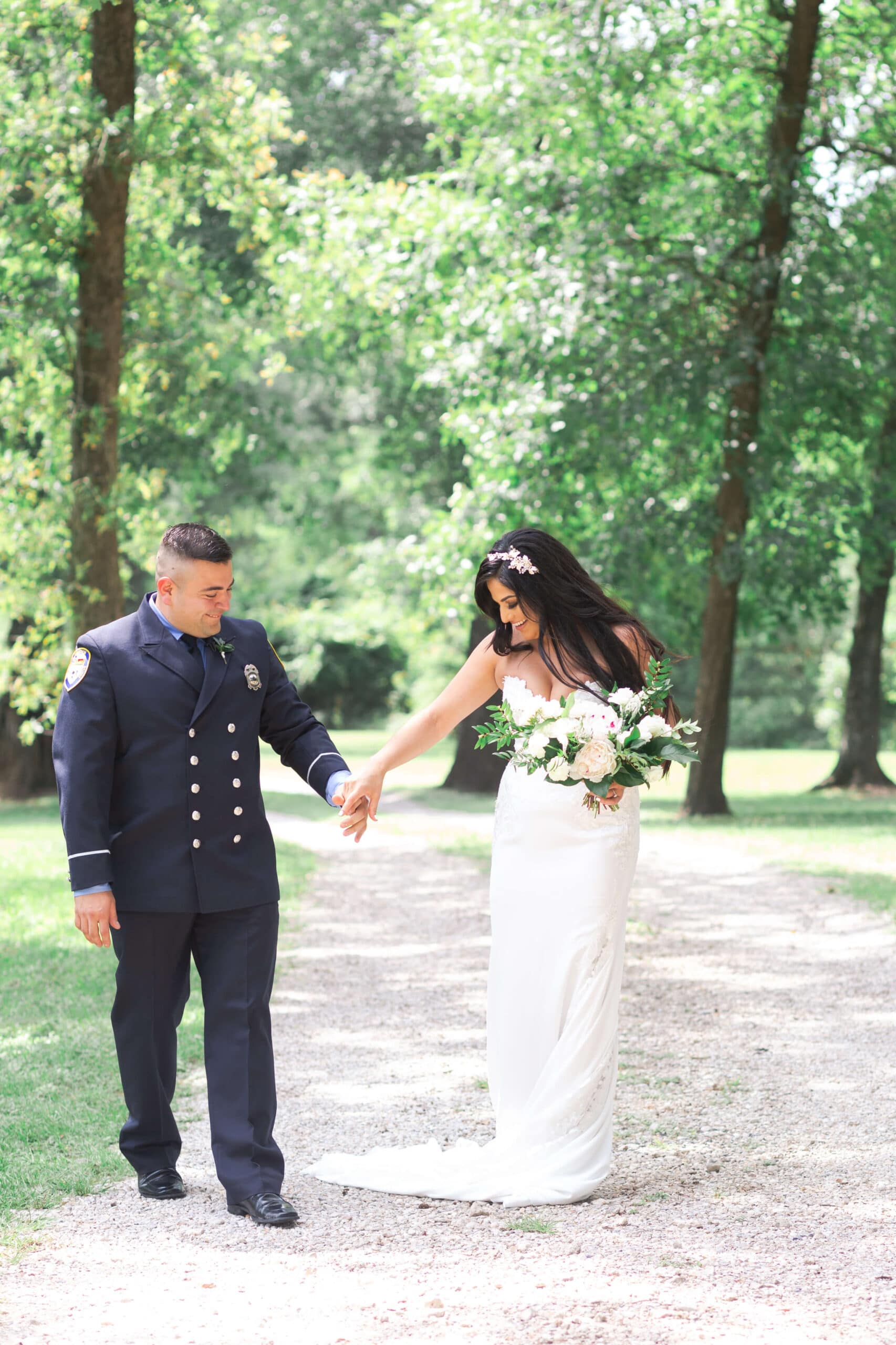 bride and groom first look at Balmorhea Events in Conroe Texas by Swish and Click photography