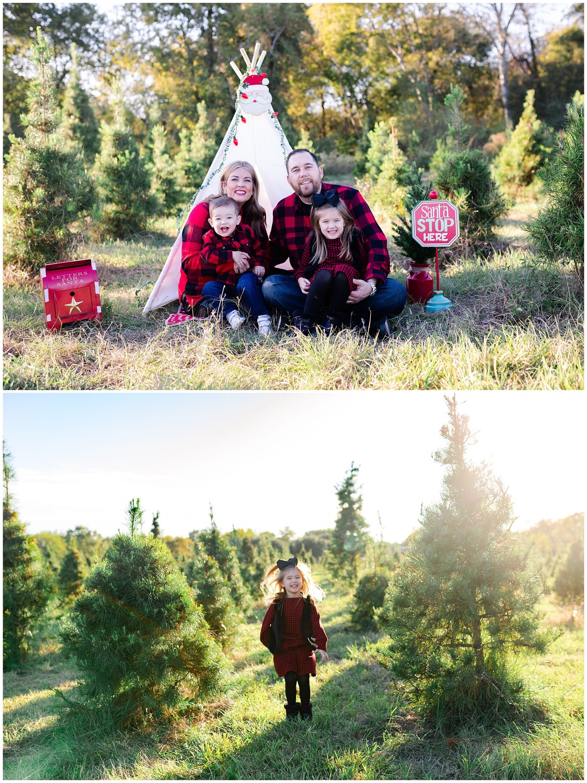 wife, husband and kids posing at Christmas tree farm for family portraits by Swish and Click Photography at Holiday Acres Farm in Manvel Texas