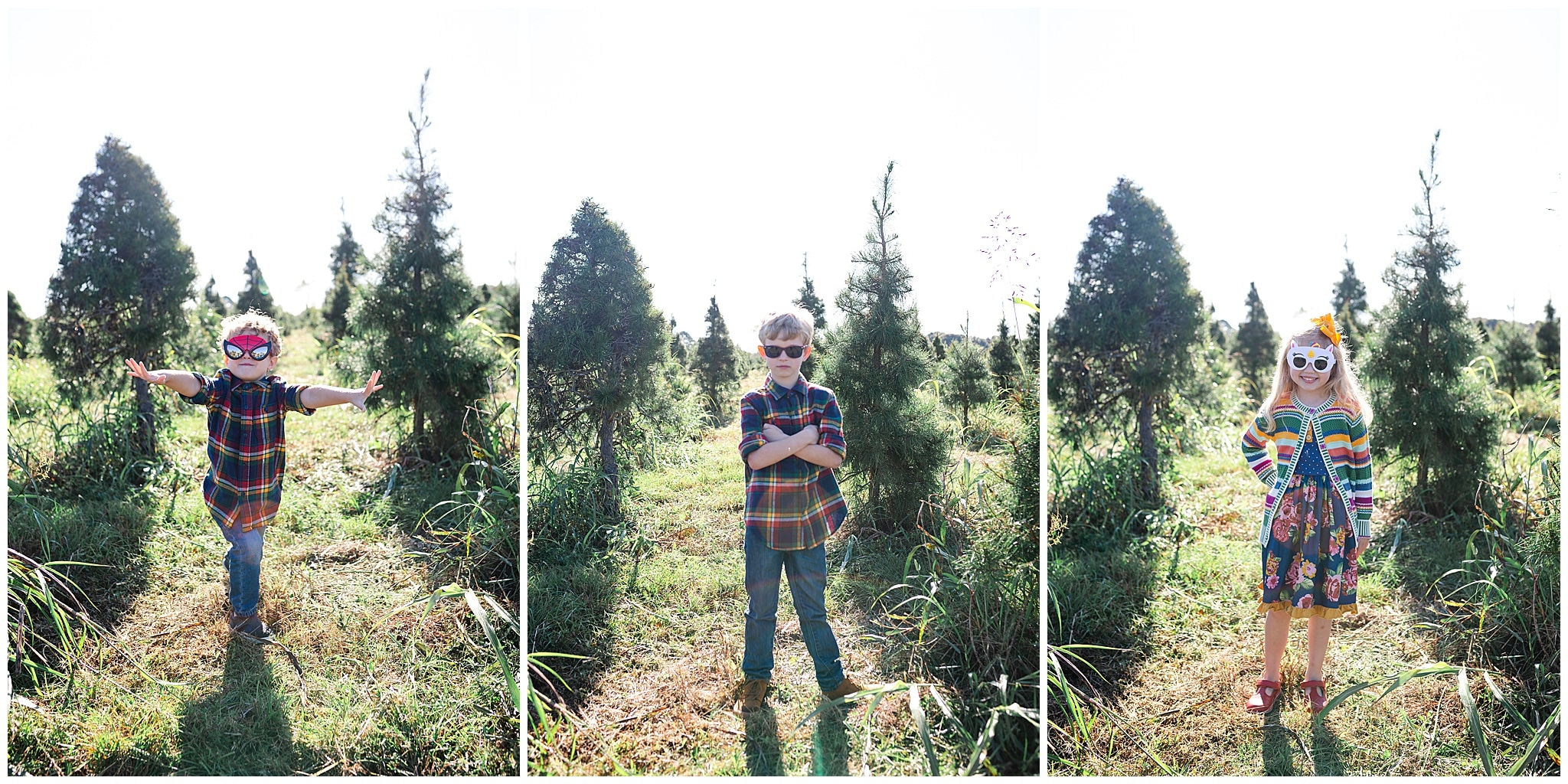 kids posing at Christmas tree farm for family portraits by Swish and Click Photography at Holiday Acres Farm in Manvel Texas