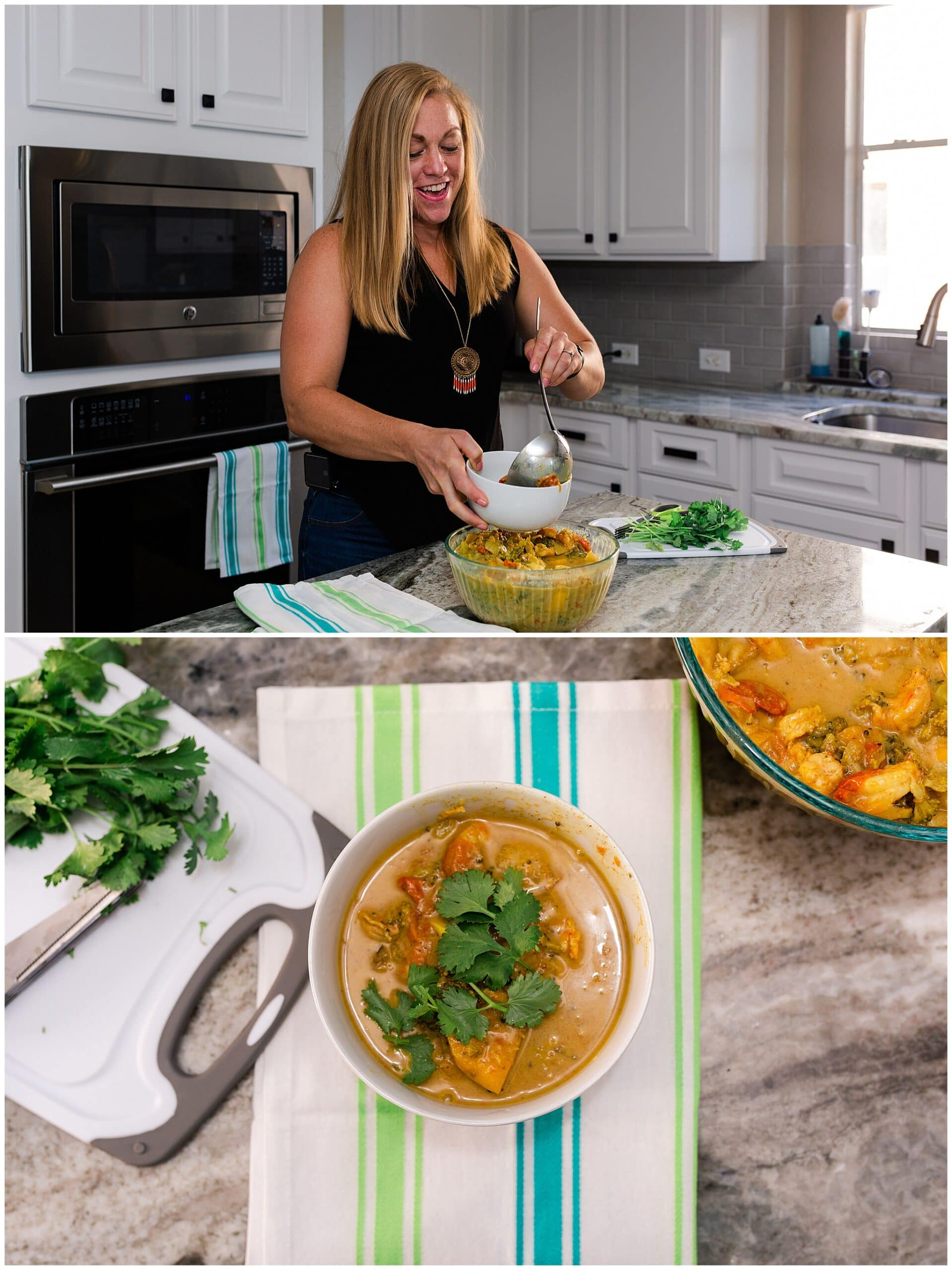 nutritionist from Focused and Fit Nutrition making a meal captured by Swish and Click Photography
