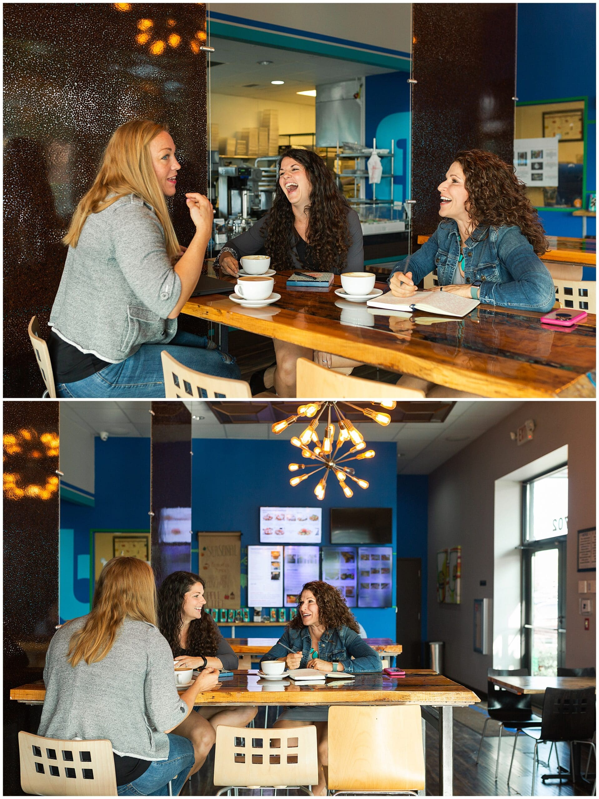 nutritionist from Focused and Fit Nutrition meeting a client at a cafe captured by Swish and Click Photography