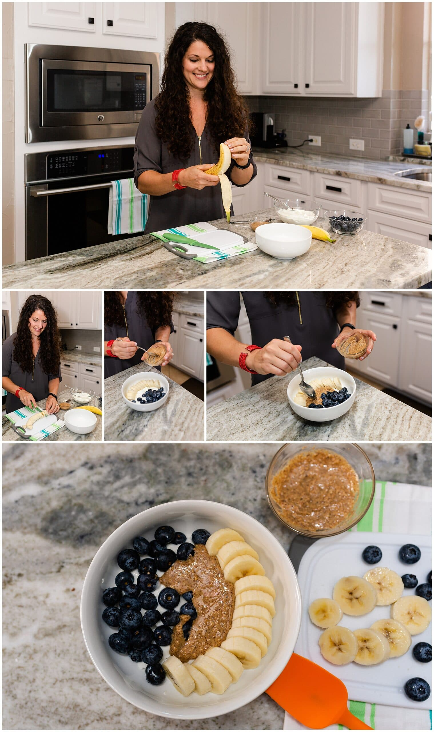 nutritionist from Focused and Fit Nutrition making a yogurt parfait captured by Swish and Click Photography