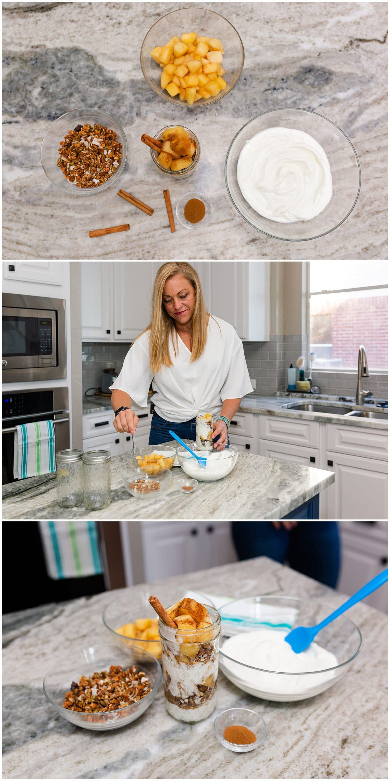 nutritionist from Focused and Fit Nutrition making granola mix captured by Swish and Click Photography