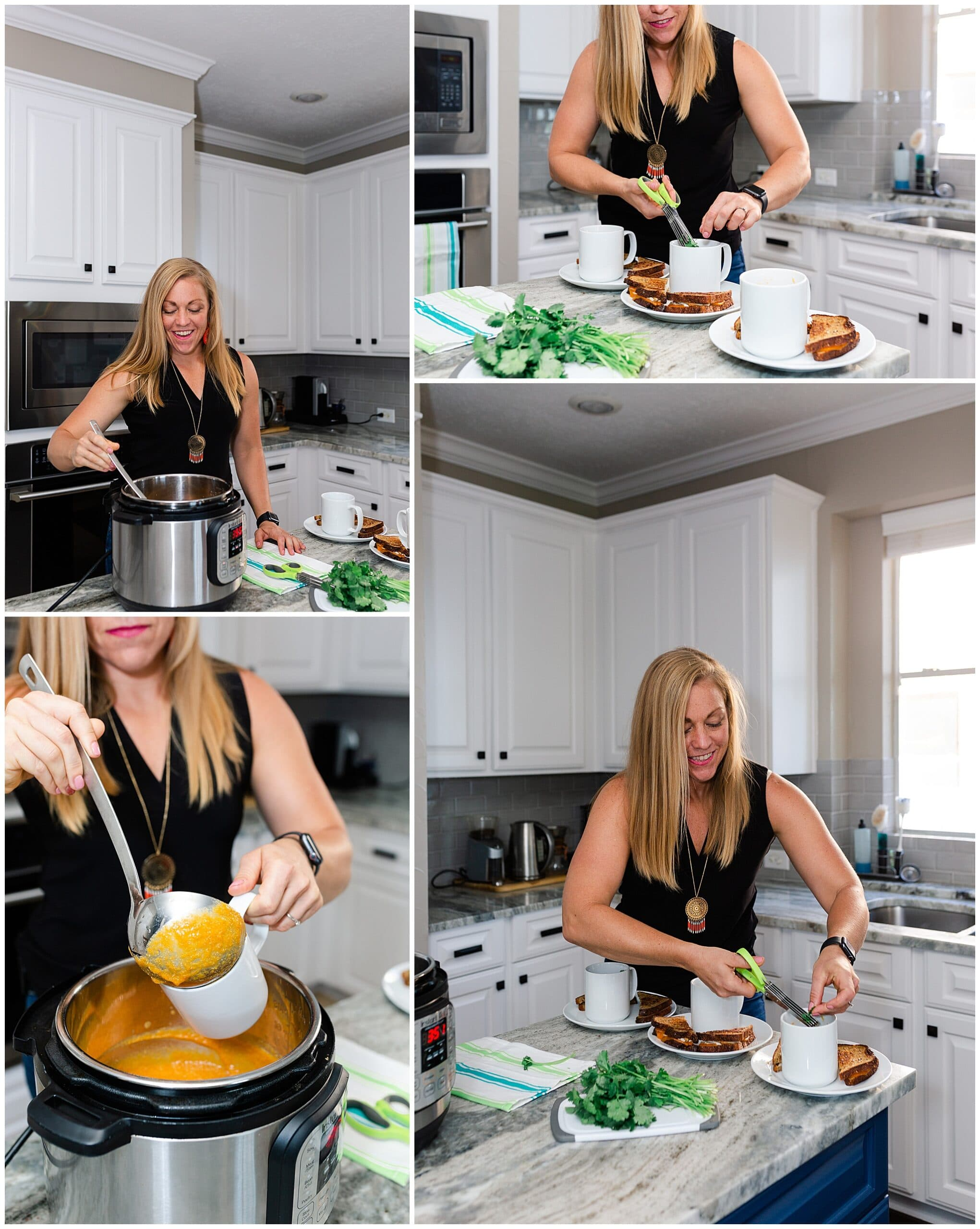 nutritionist from Focused and Fit Nutrition making soup captured by Swish and Click Photography