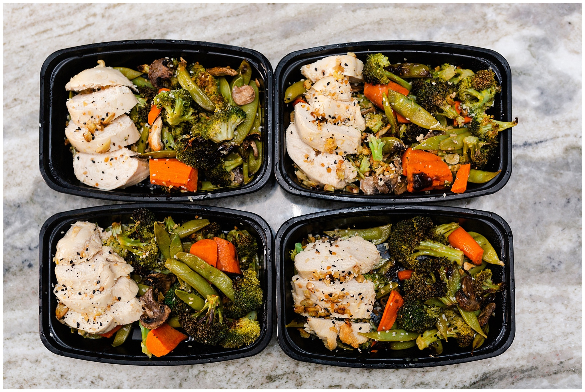 meal prep with chicken and veggies captured by Swish and Click Photography