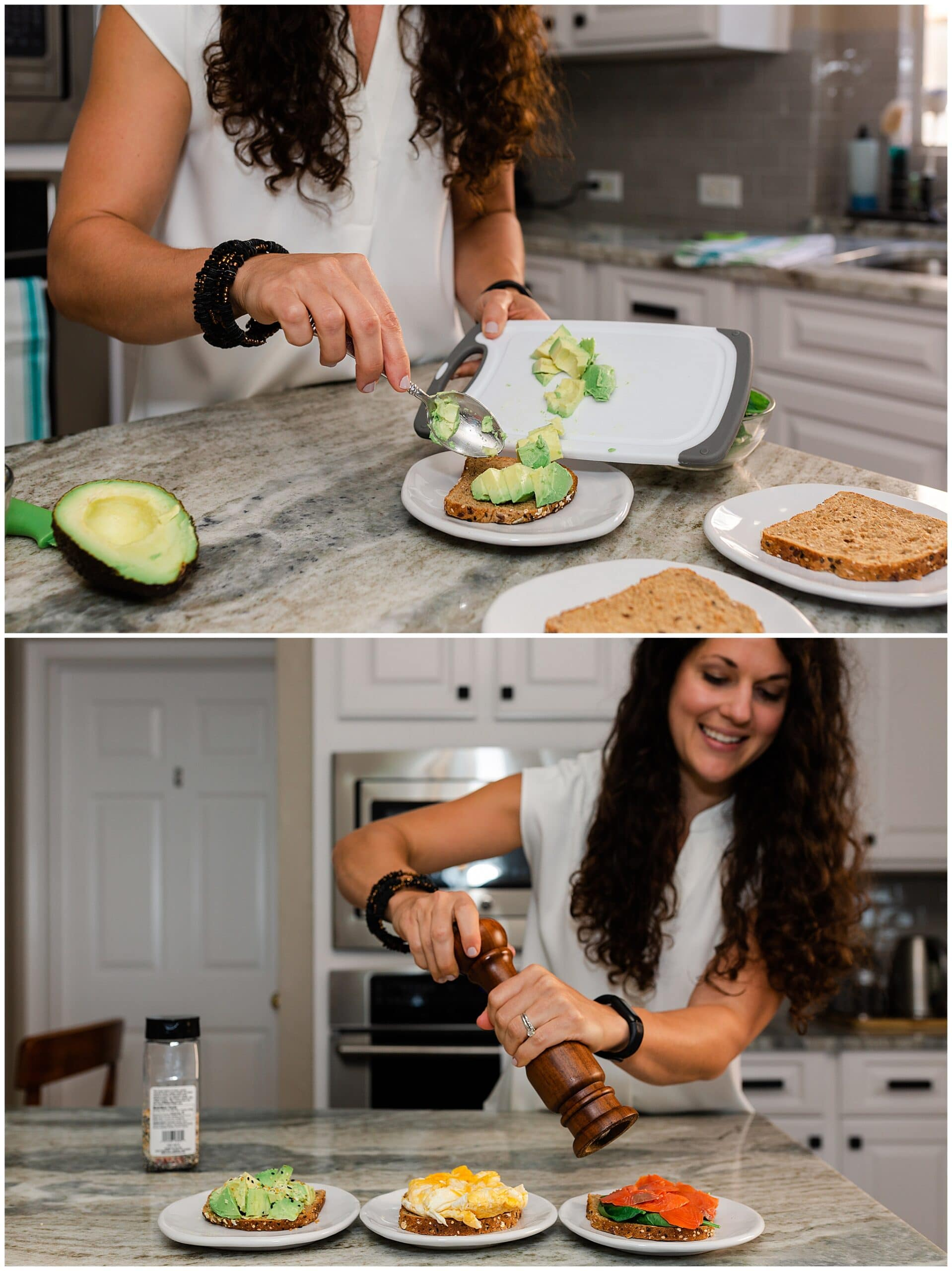 nutritionist from Focused and Fit Nutrition making avocado toast captured by Swish and Click Photography
