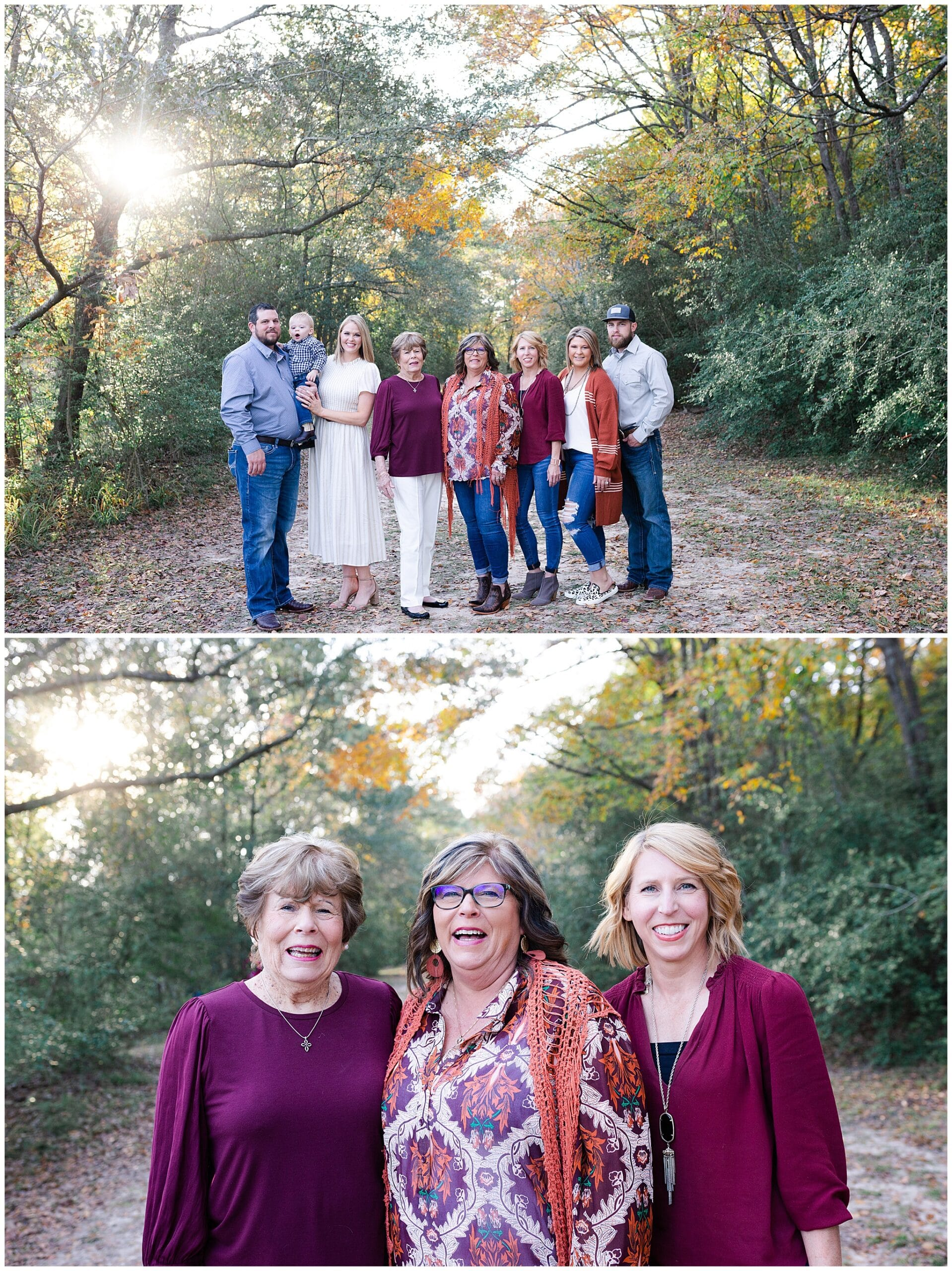 mother, grandmother and children getting portraits taken at Kickerillo-Mischer Preserve by Swish and Click Photography