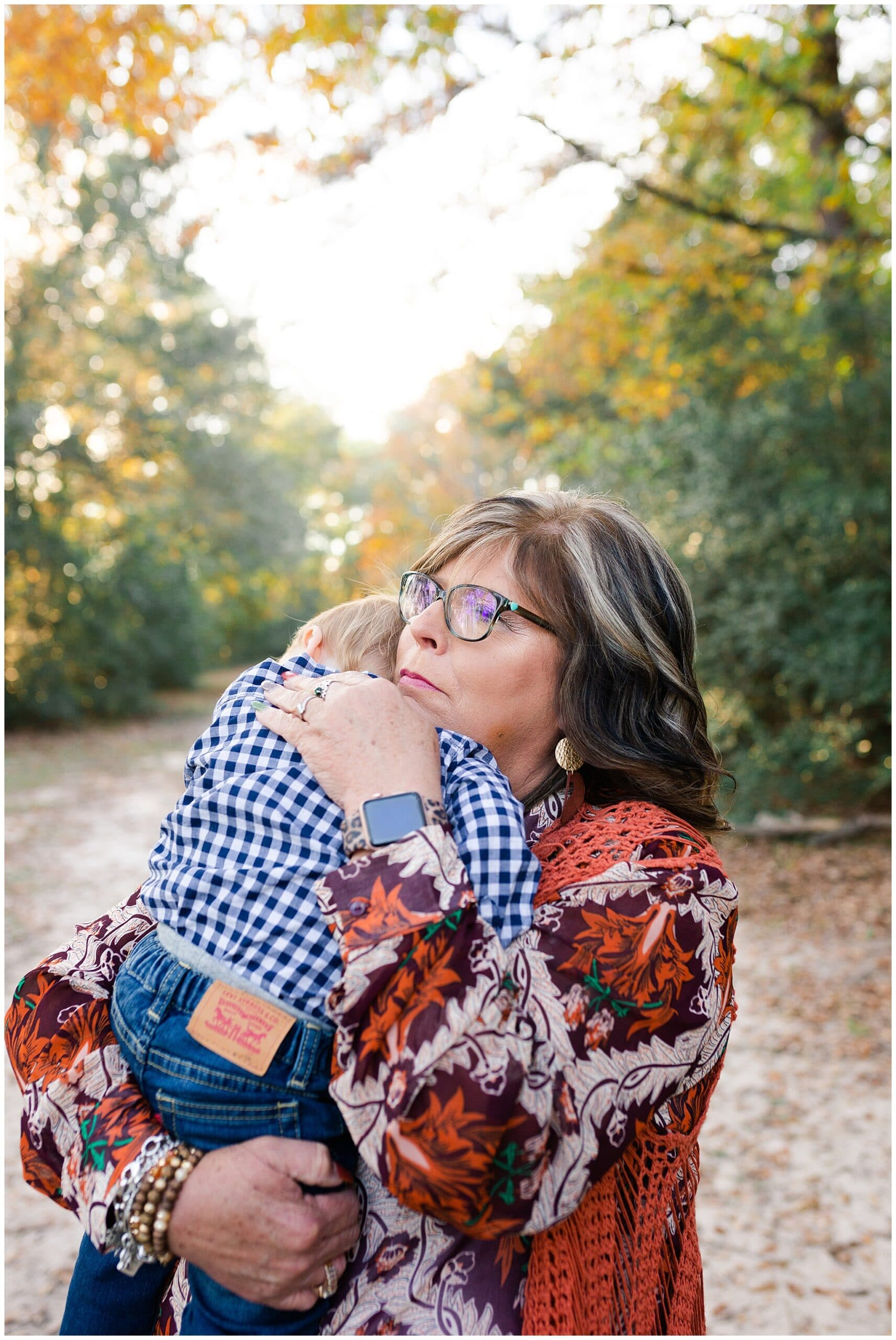 grandmother and grandson getting portraits taken at Kickerillo-Mischer Preserve by Swish and Click Photography