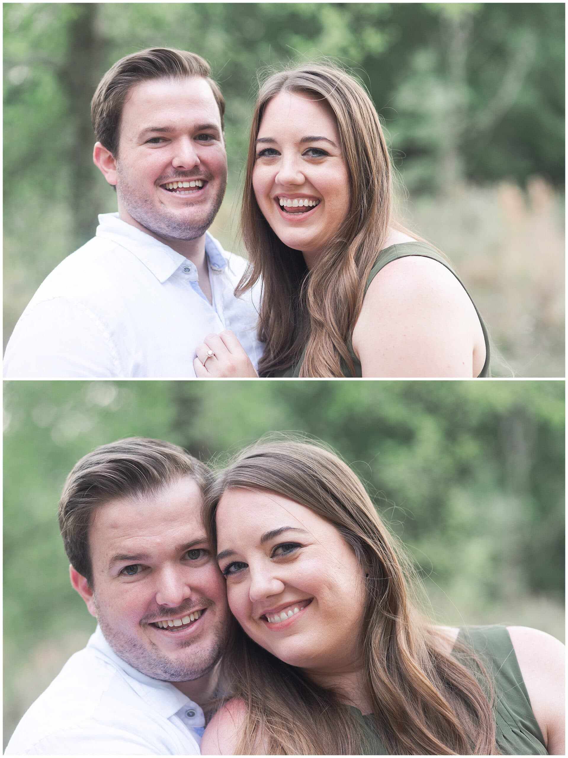 couple smiling in Houston Arboretum and Nature Center during their engagement session by Swish and Click Photography