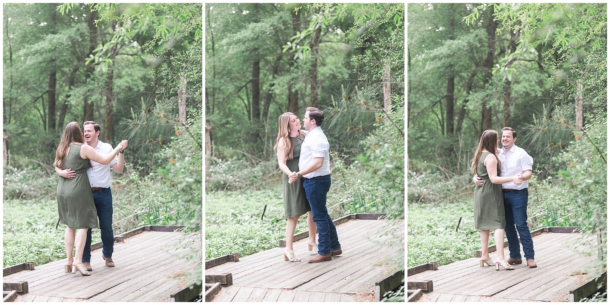 couple dancing in Houston Arboretum and Nature Center during their engagement session by Swish and Click Photography