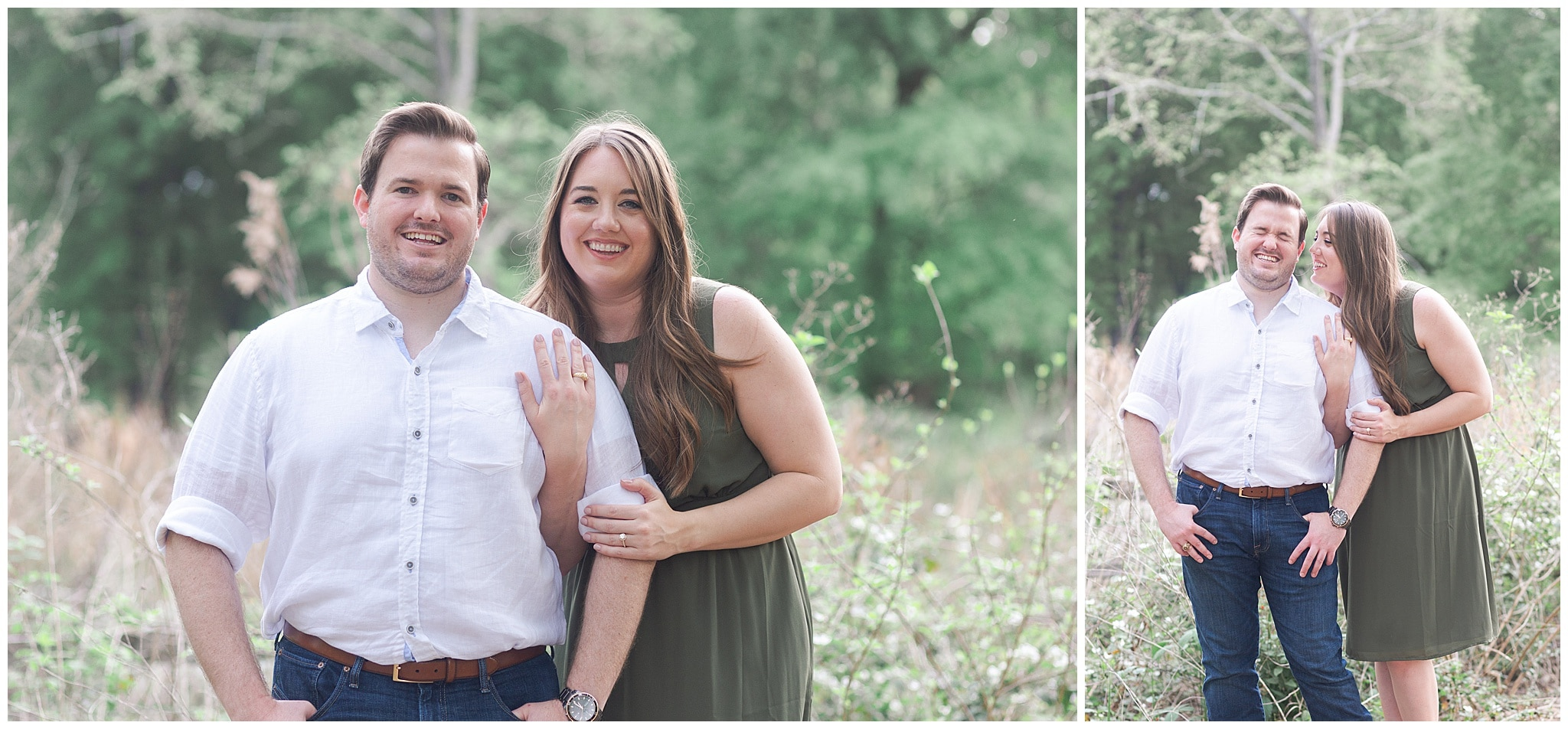 couple laughing in Houston Arboretum and Nature Center during their engagement session by Swish and Click Photography