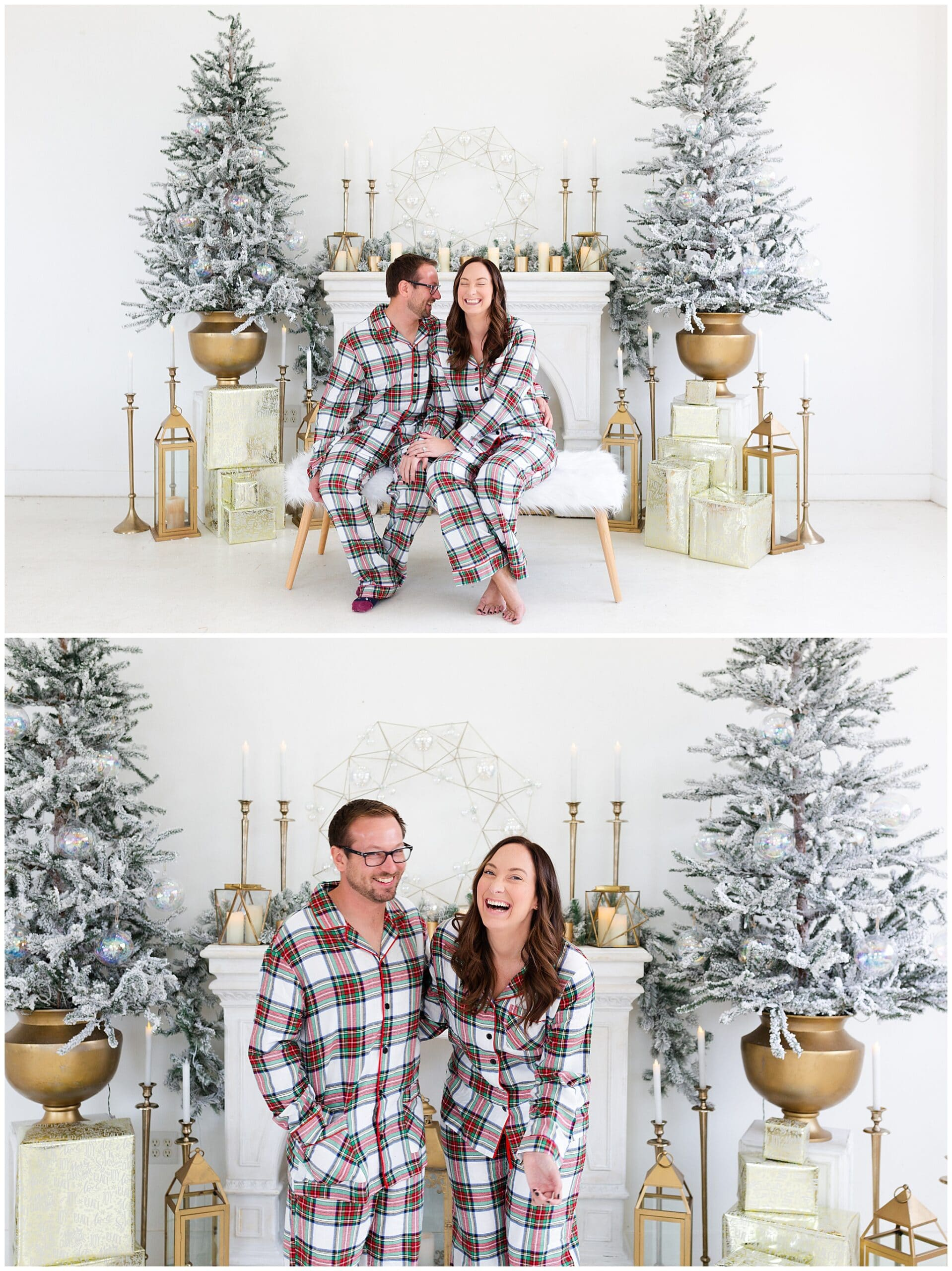 engaged couple and their puppies at a Christmas portraits session at Studio HTX in Houston Texas by Swish and Click Photography