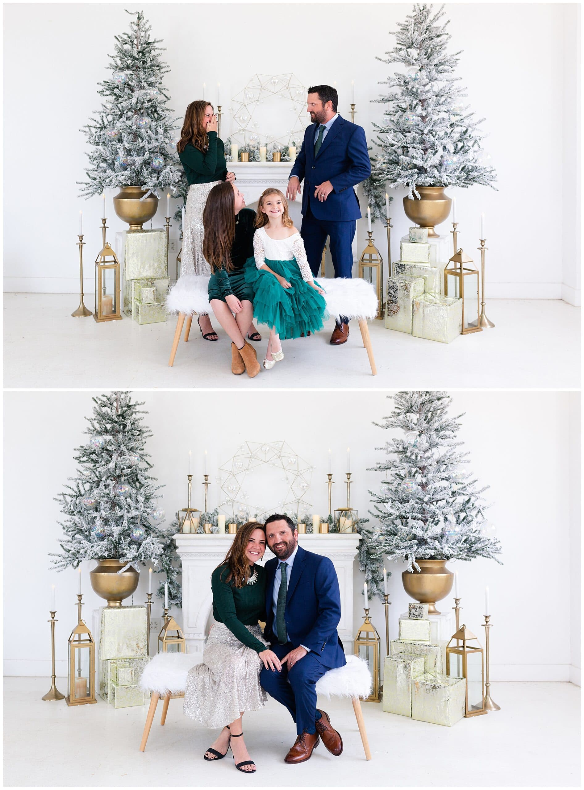 mother, father, and two daughters at a Christmas portraits session at Studio HTX in Houston Texas by Swish and Click Photography