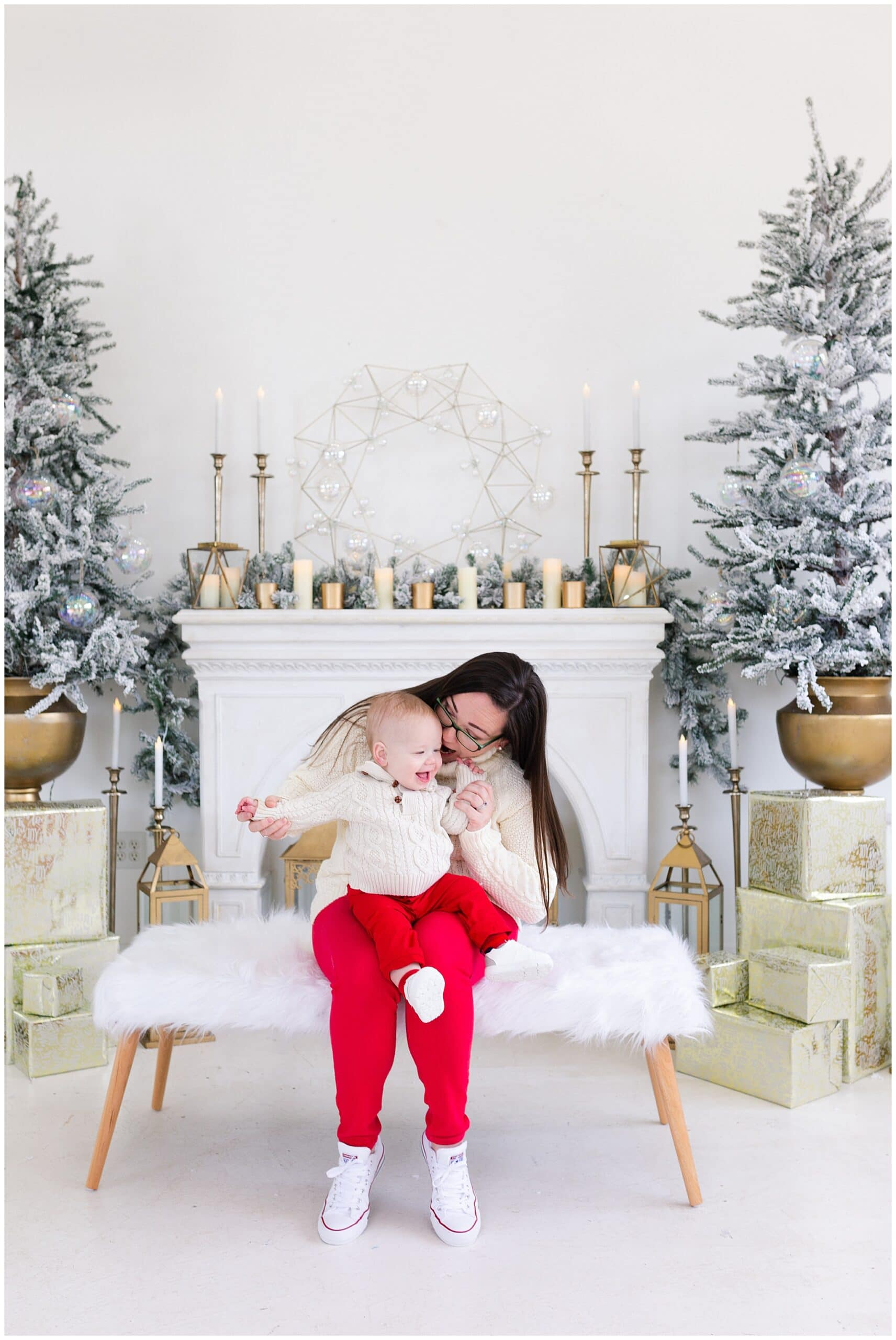 mother and baby at a Christmas portraits session at Studio HTX in Houston Texas by Swish and Click Photography