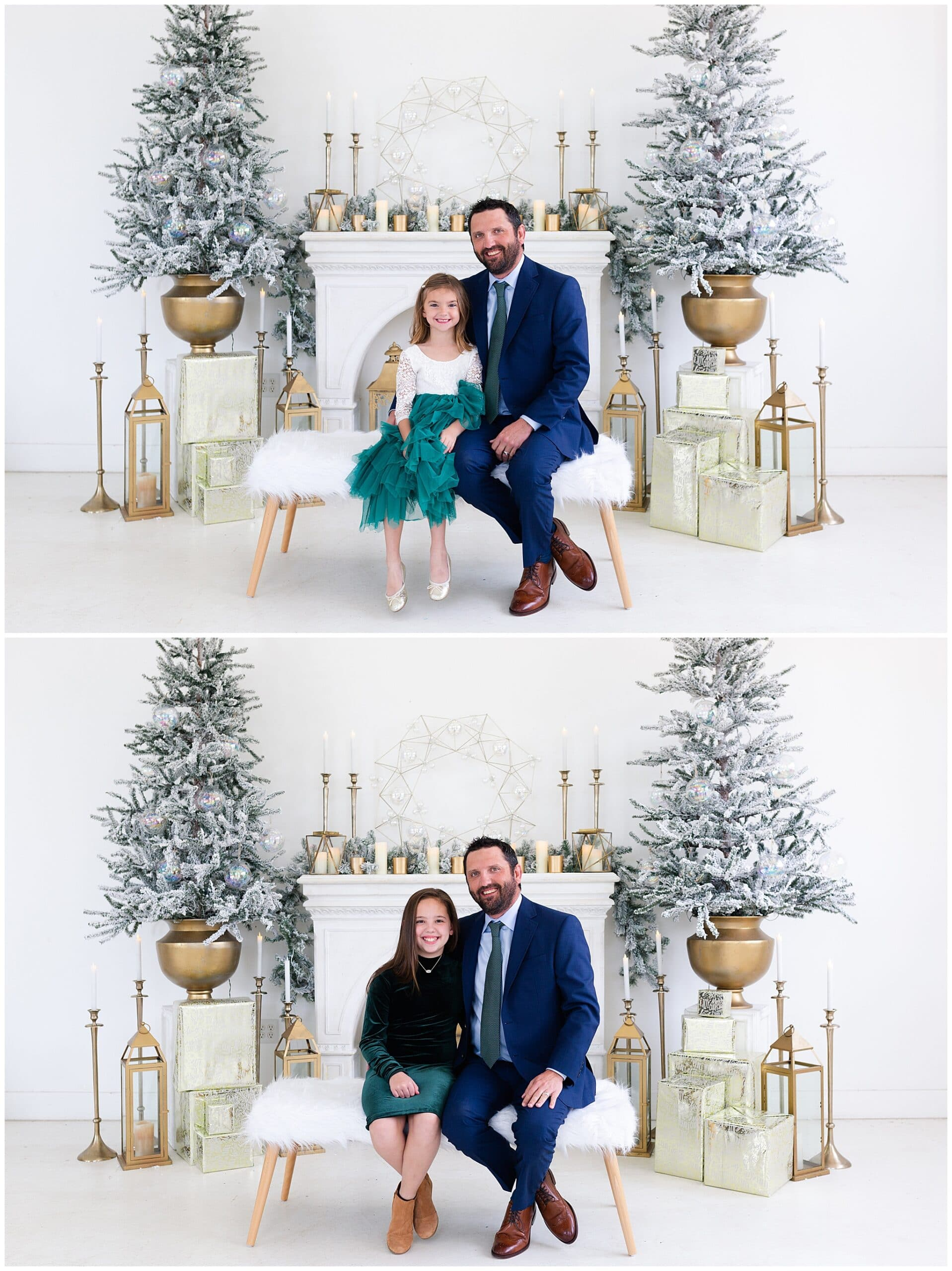 father, and two daughters at a Christmas portraits session at Studio HTX in Houston Texas by Swish and Click Photography