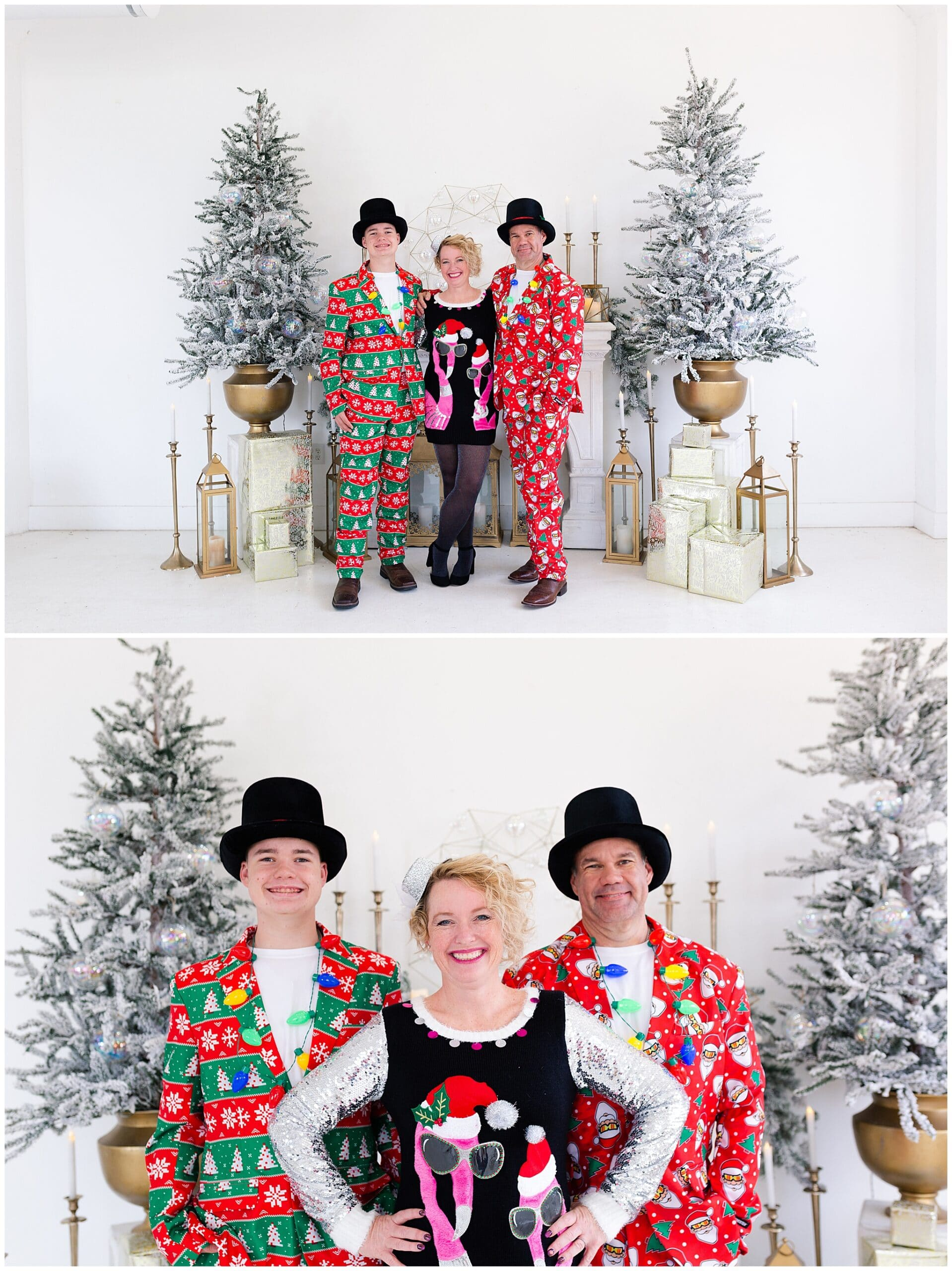 mother, father, and teenage son at a Christmas portraits session at Studio HTX in Houston Texas by Swish and Click Photography