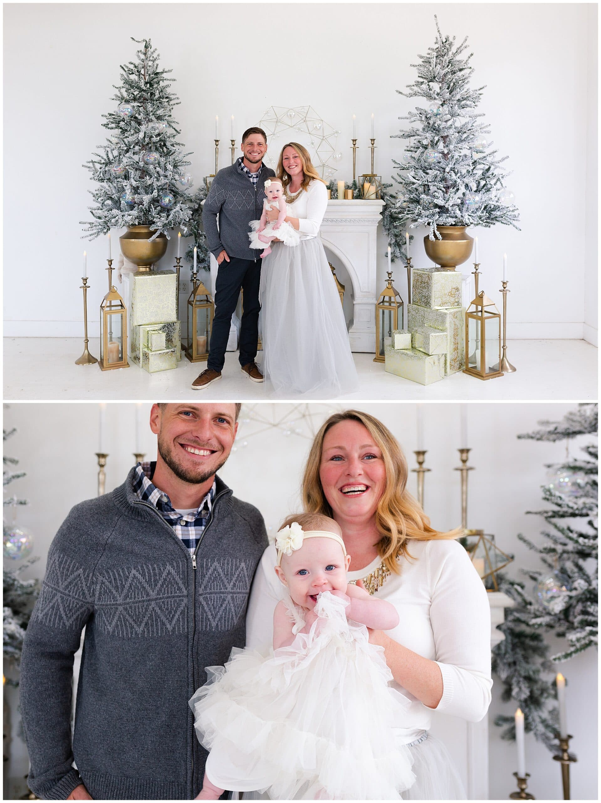 mother, father and baby at a Christmas portraits session at Studio HTX in Houston Texas by Swish and Click Photography