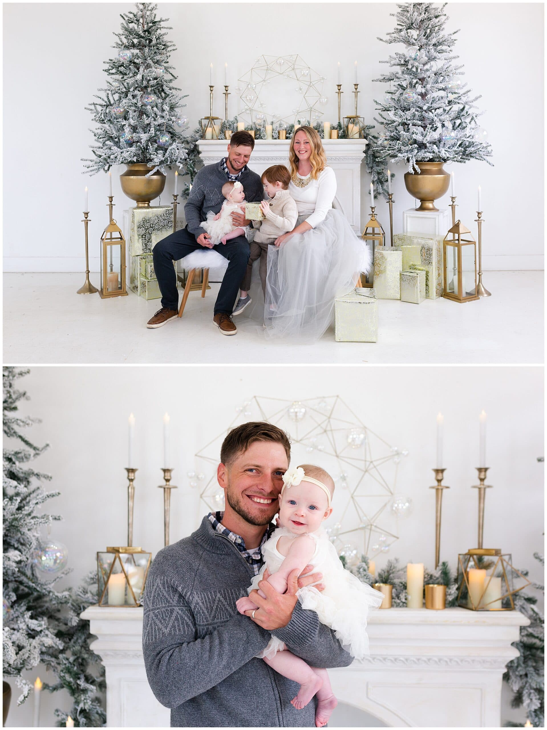 mother, father, son and baby at a Christmas portraits session at Studio HTX in Houston Texas by Swish and Click Photography