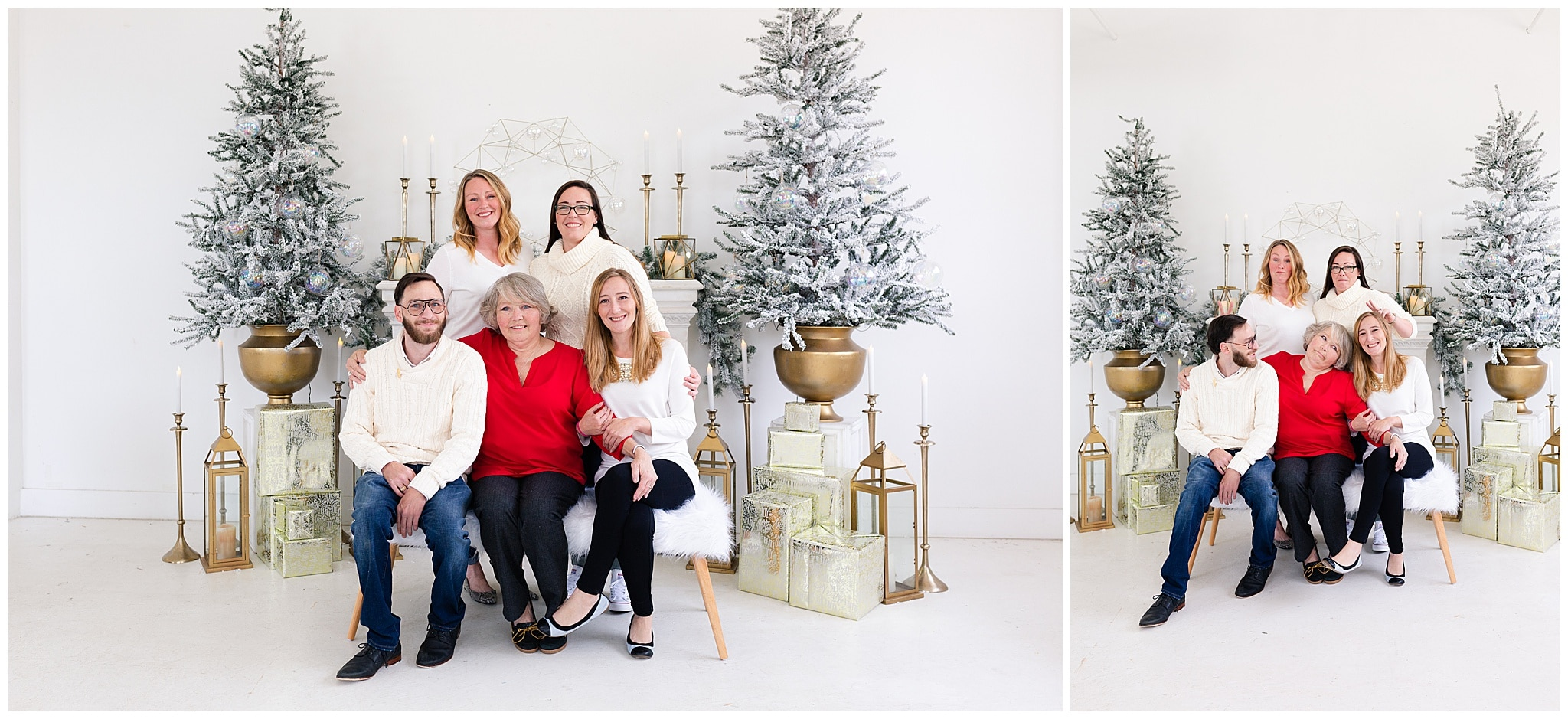 extended family at a Christmas portraits session at Studio HTX in Houston Texas by Swish and Click Photography