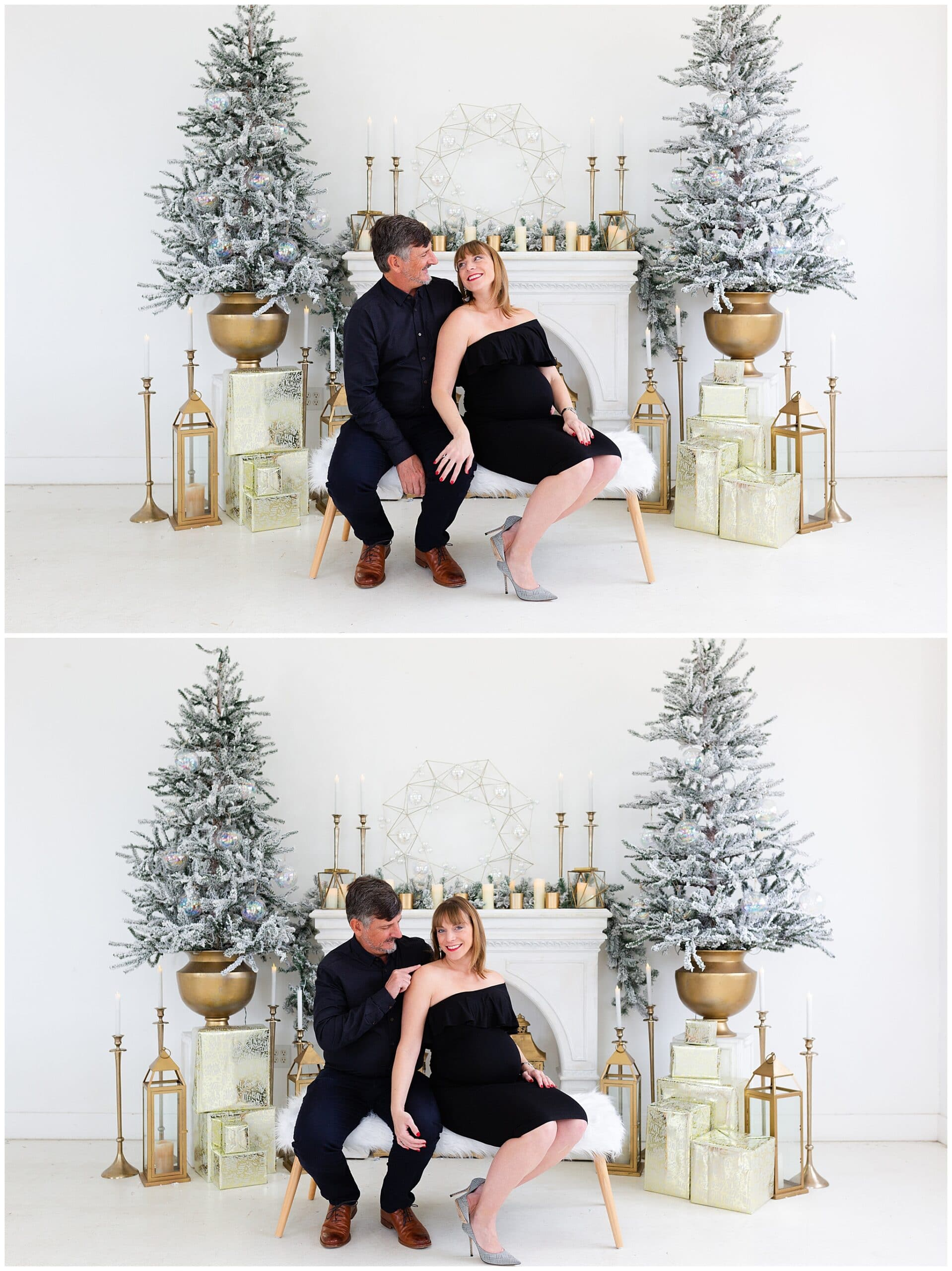 maternity portraits of a mom-to-be and husband at a Christmas portraits session at Studio HTX in Houston Texas by Swish and Click Photography