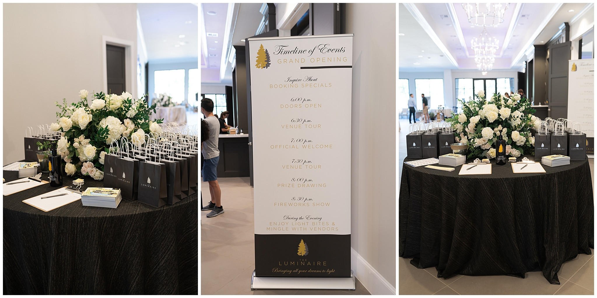 Houston wedding venue outside at their open house grand entrance with gift bags captured by Swish and Click Photography